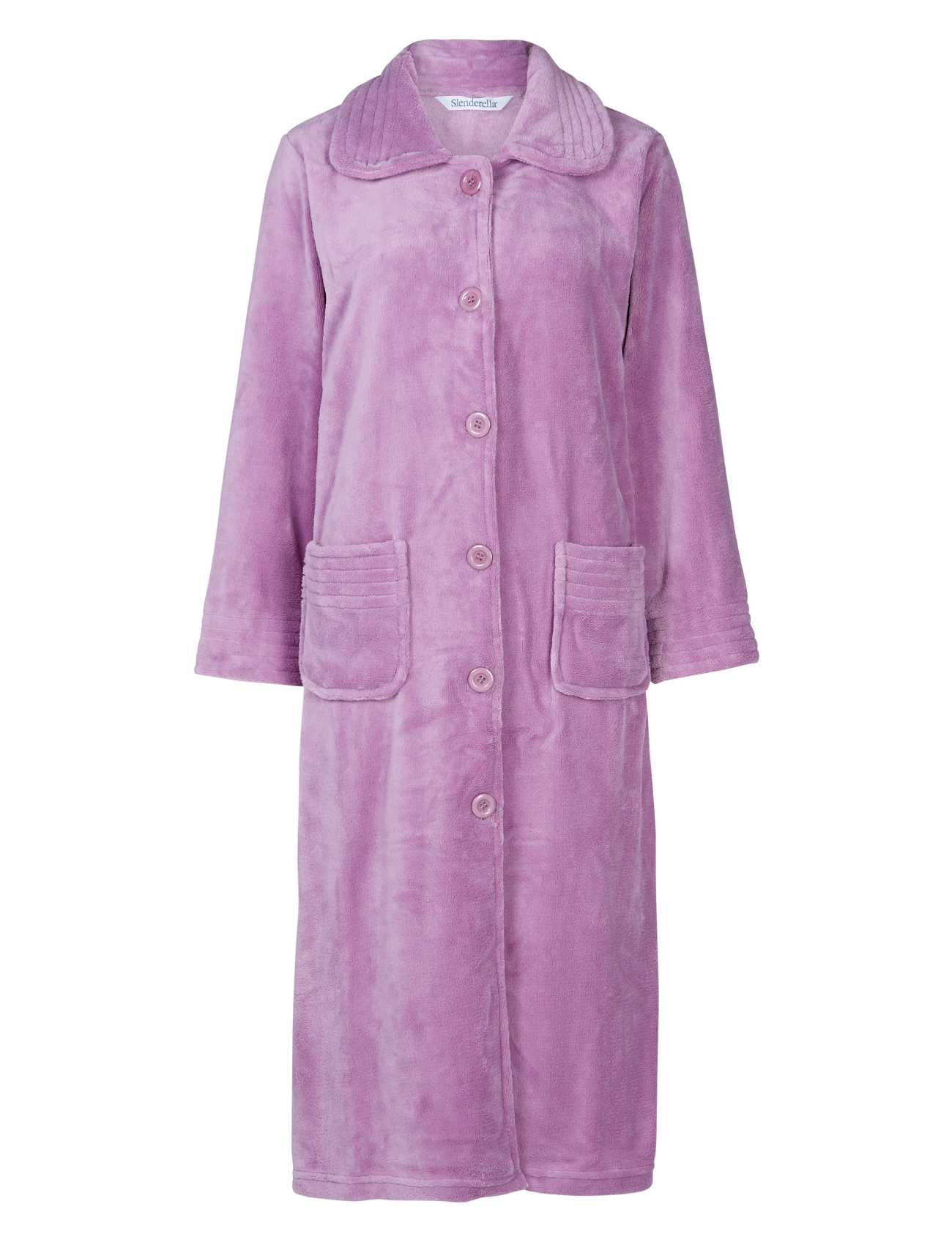 Dressing Gown Womens Button Up Soft Fleecy Plain Bath Robe ...