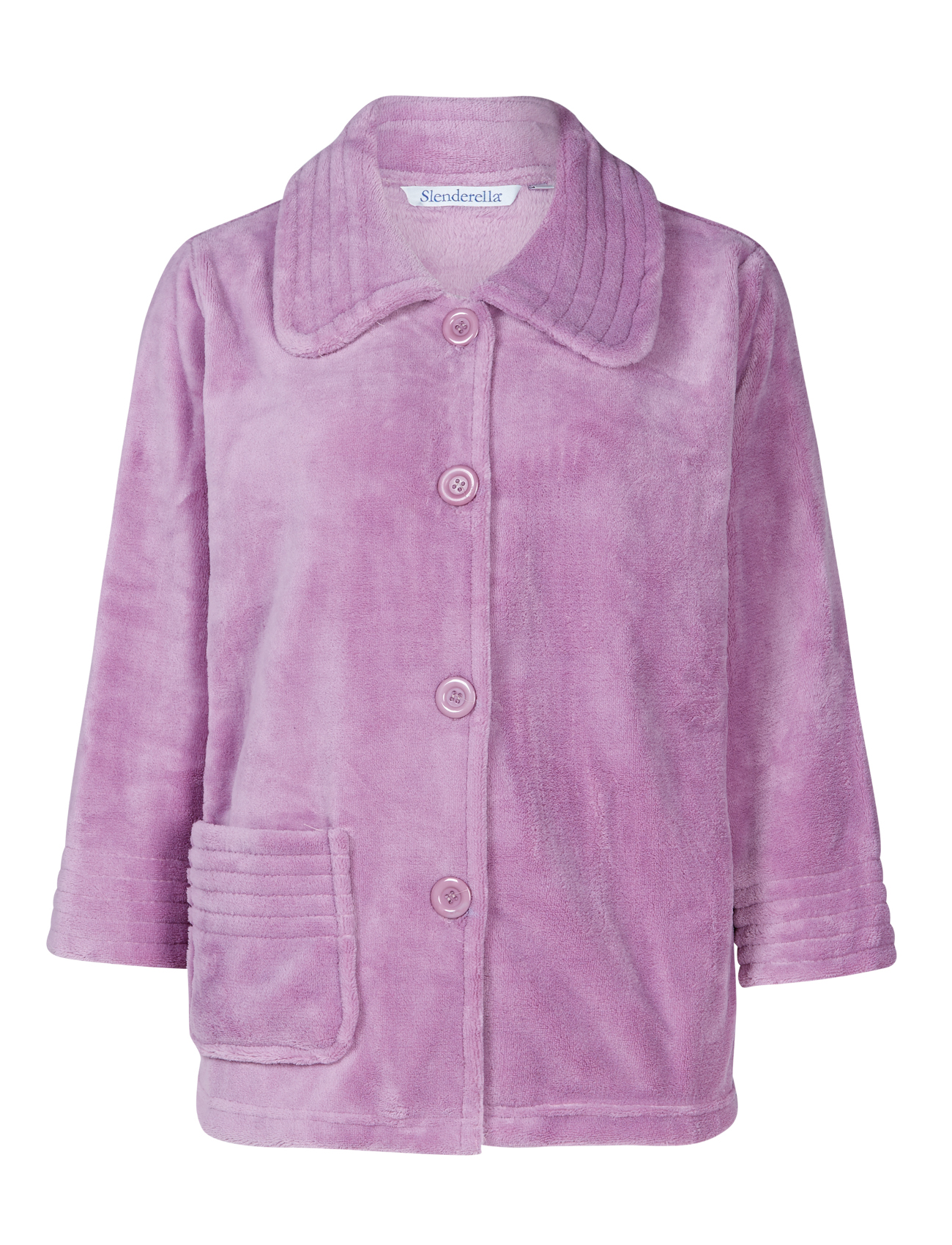 Bed Jacket Womens Button Up Soft Fleecy Ribbed Detail