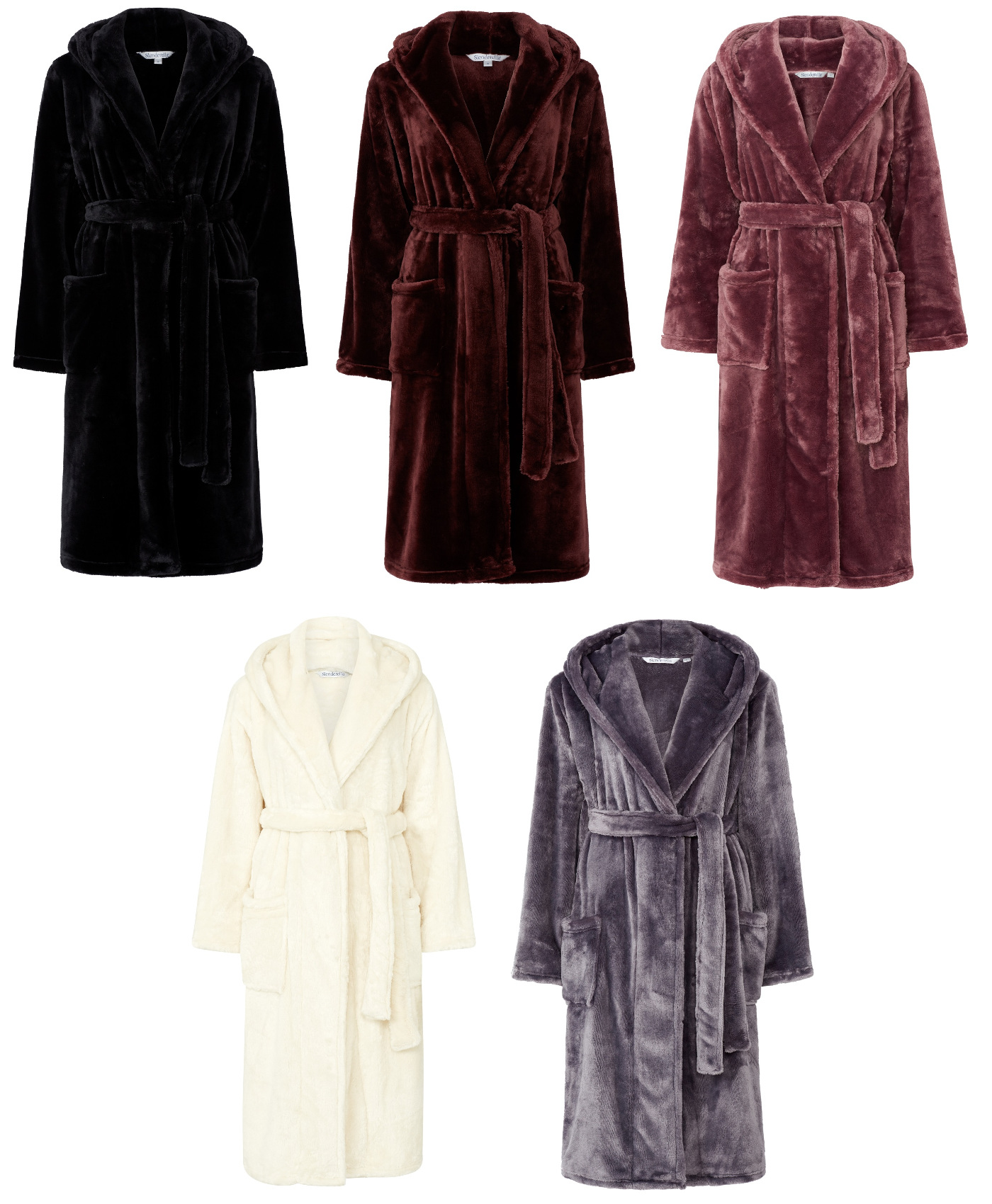 Slenderella Ladies Super Soft Thick Fleece Dressing Gown Luxury ...