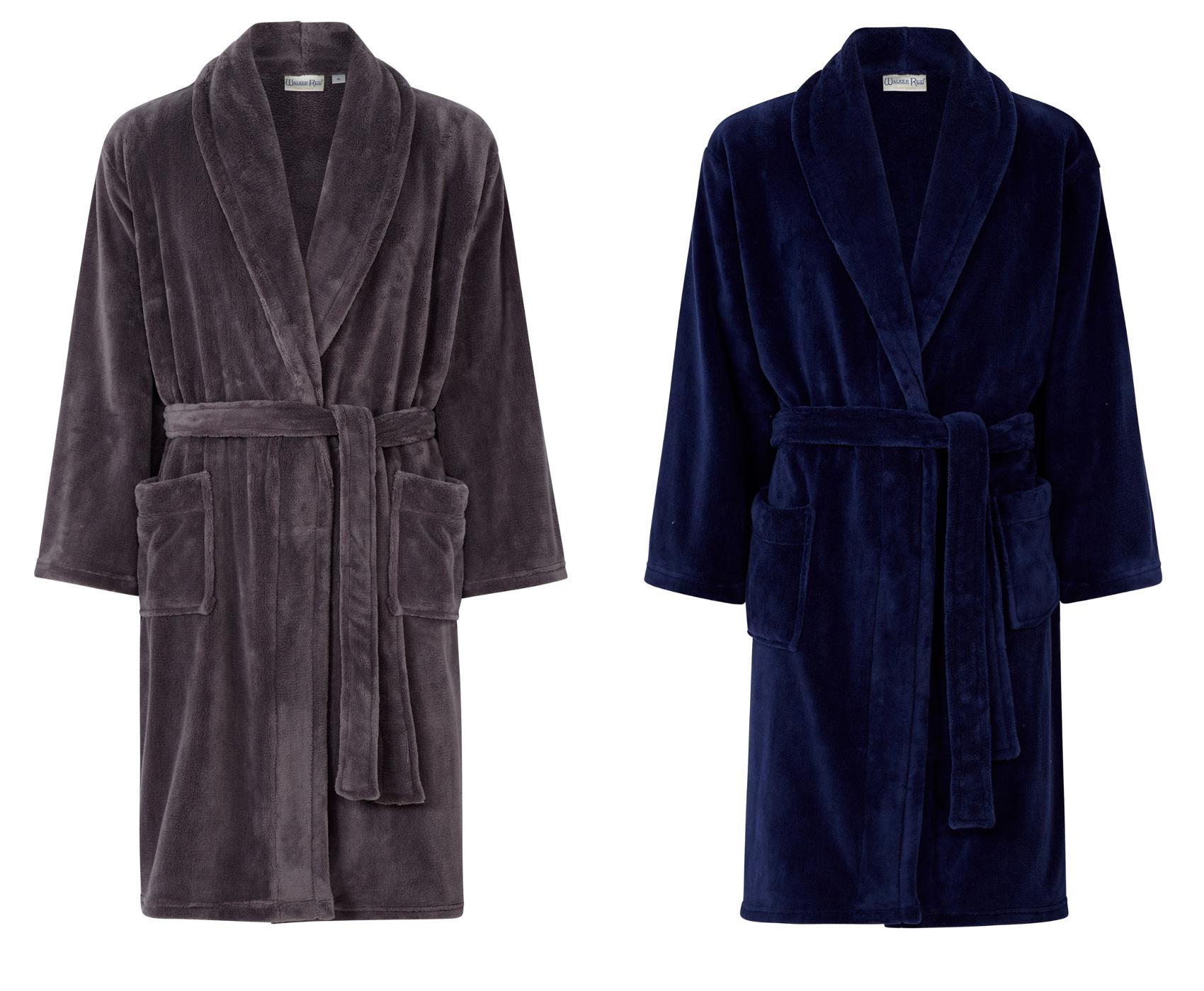 walker reid peignoir hommes enroul de luxe robe chambre polaire col ch le ebay. Black Bedroom Furniture Sets. Home Design Ideas
