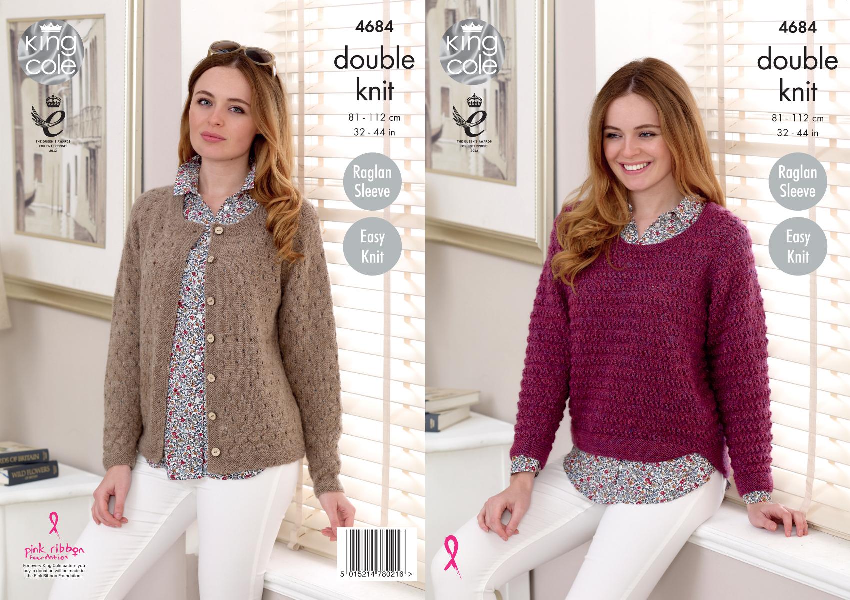 Ladies Raglan Jumper Knitting Pattern : King Cole Ladies Double Knitting Pattern Easy Knit Raglan Sweater Cardigan 46...