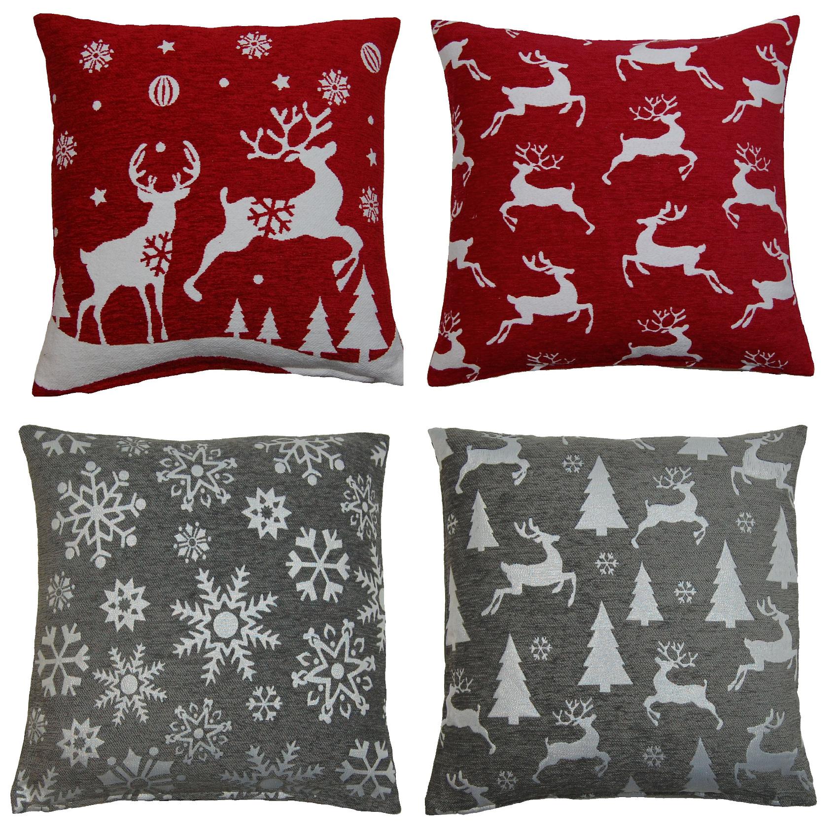Festive Chenille Christmas Cushion Covers Decorative Xmas
