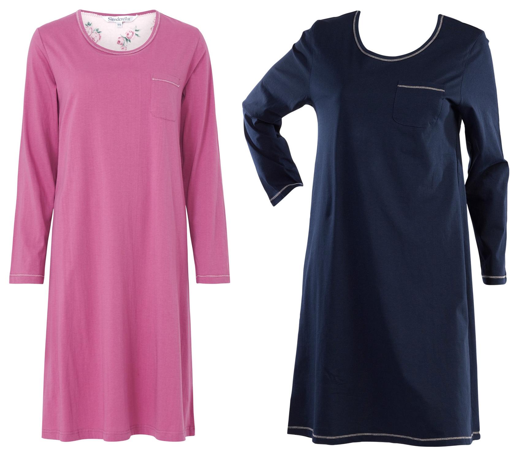 Ladies Slenderella 100% Cotton Jersey Nightdress Plain Long Sleeved Nightie f2821def5557