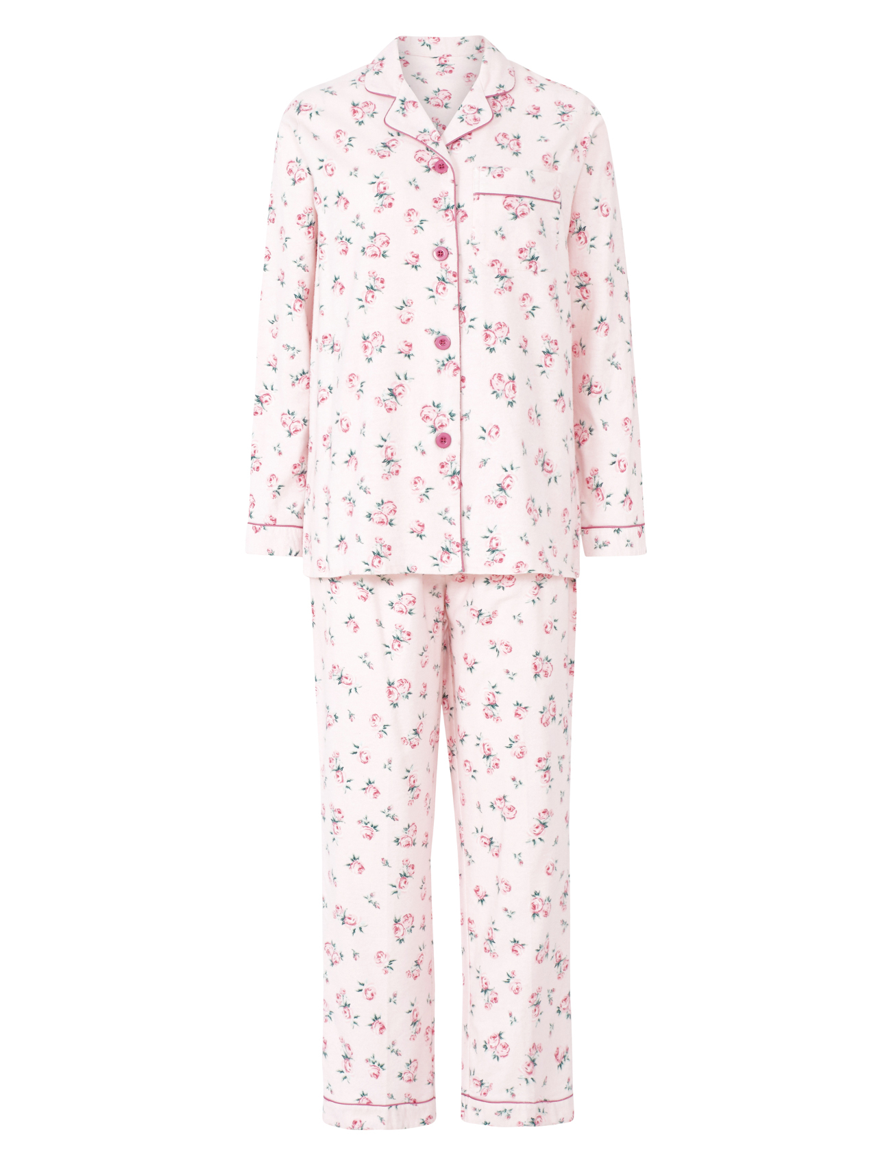 Pyjamas Ladies Slenderella 100 Brushed Cotton Pjs Set