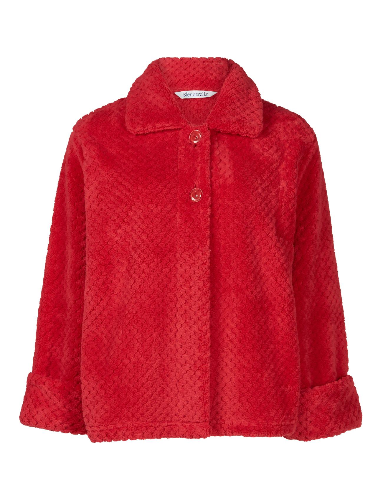Slenderella Ladies Button Up Soft Waffle Fleece Bed Jacket