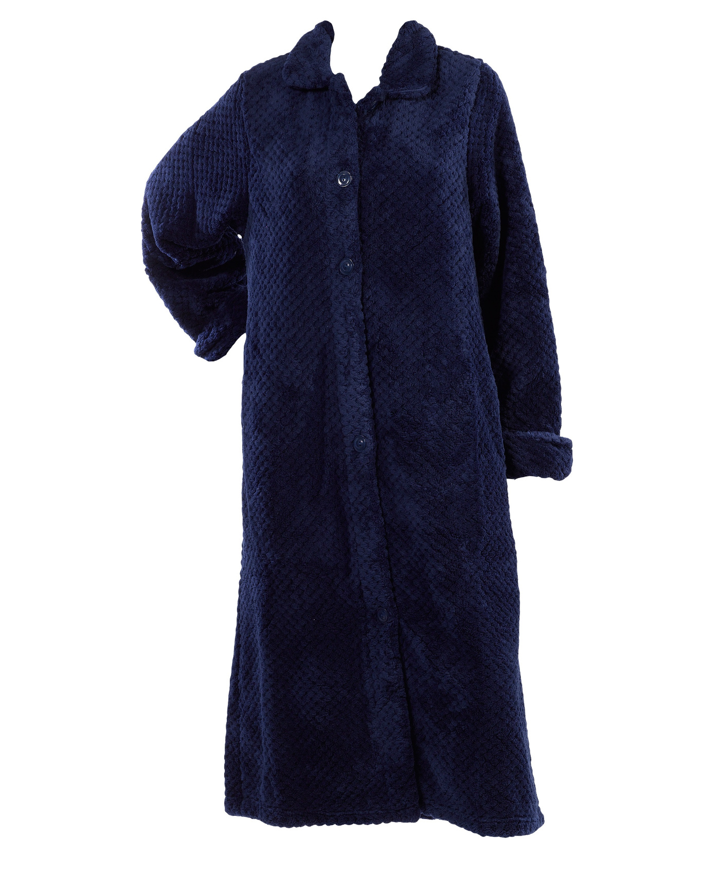 Womens Slenderella Bath Robe Button Up Soft Waffle Fleece ...