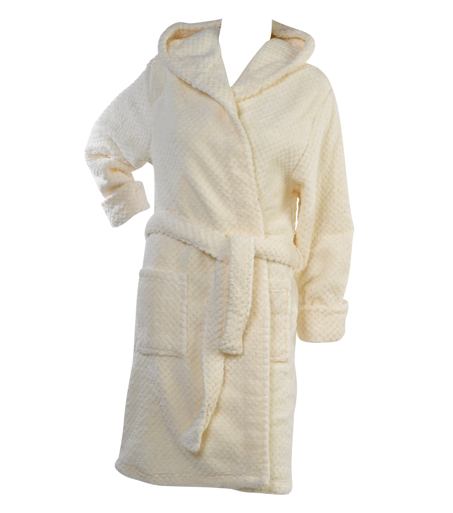 Dressing Gown Womens Hooded Bath Robe Soft Waffle Fleece ...