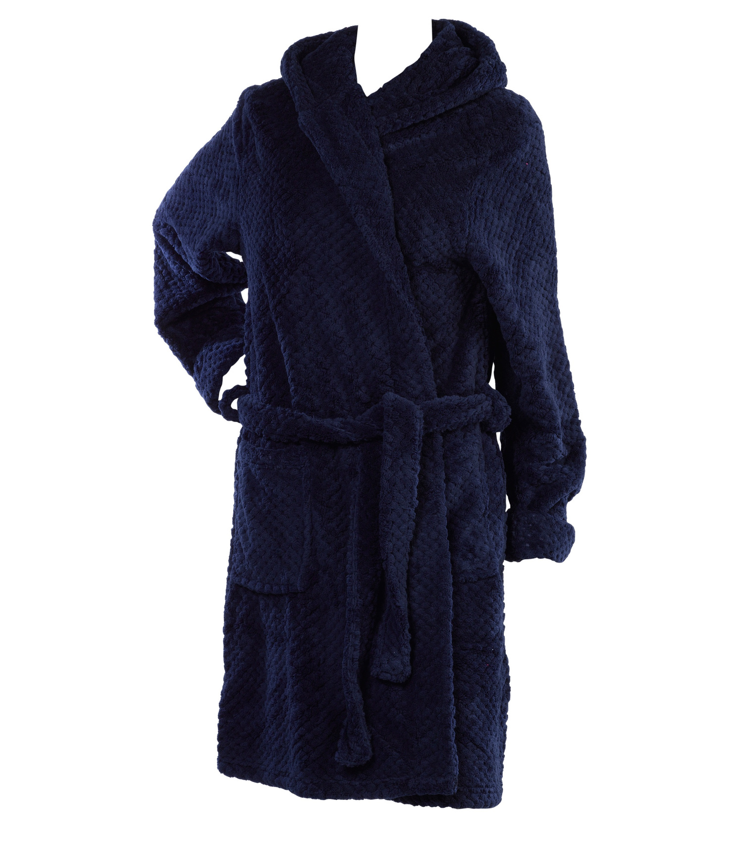 Ladies Slenderella Soft Waffle Fleece Hooded Dressing Gown Ladies ...