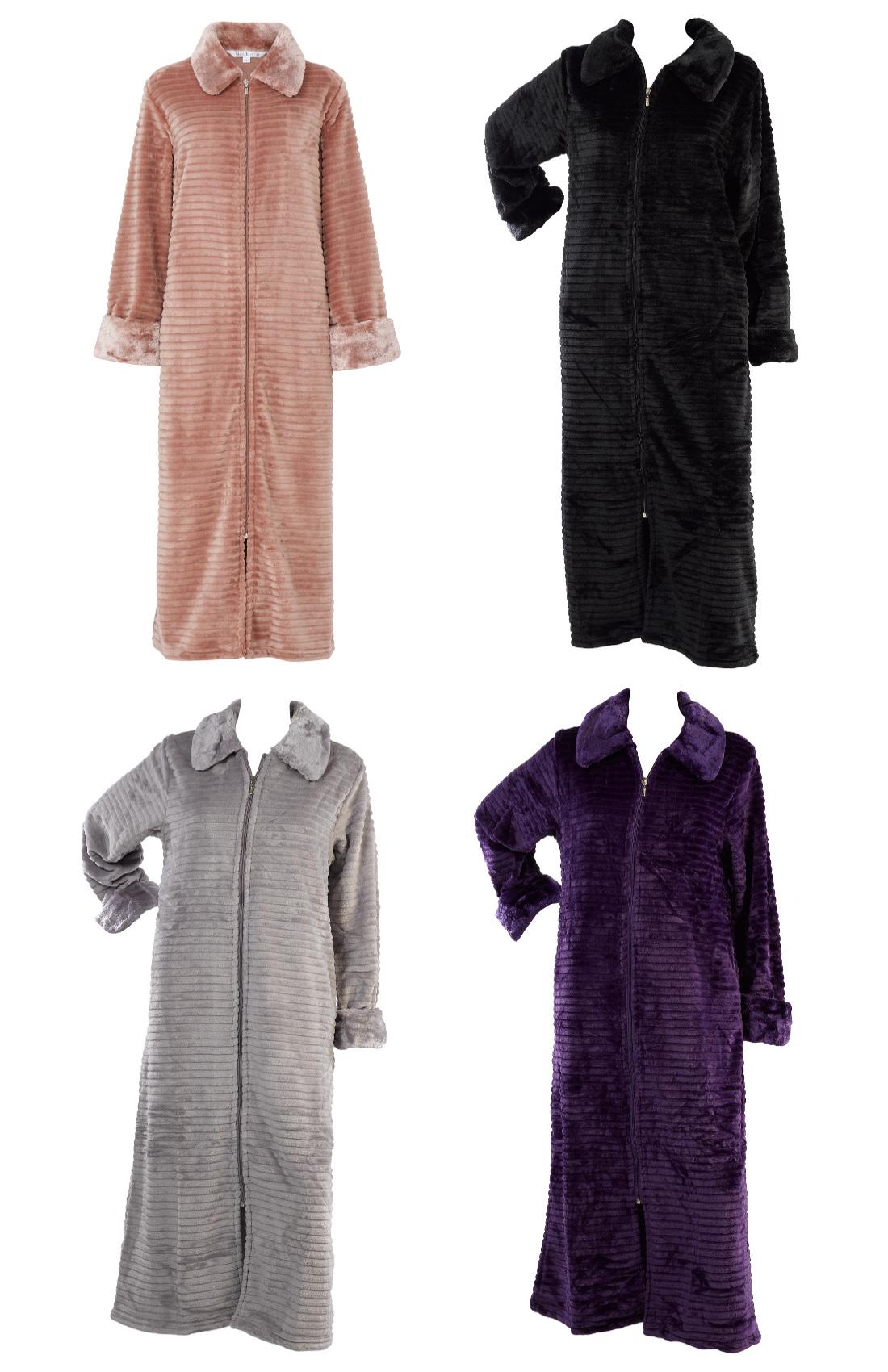 Slenderella Ladies Zip Up Ribbed Style Dressing Gown ...