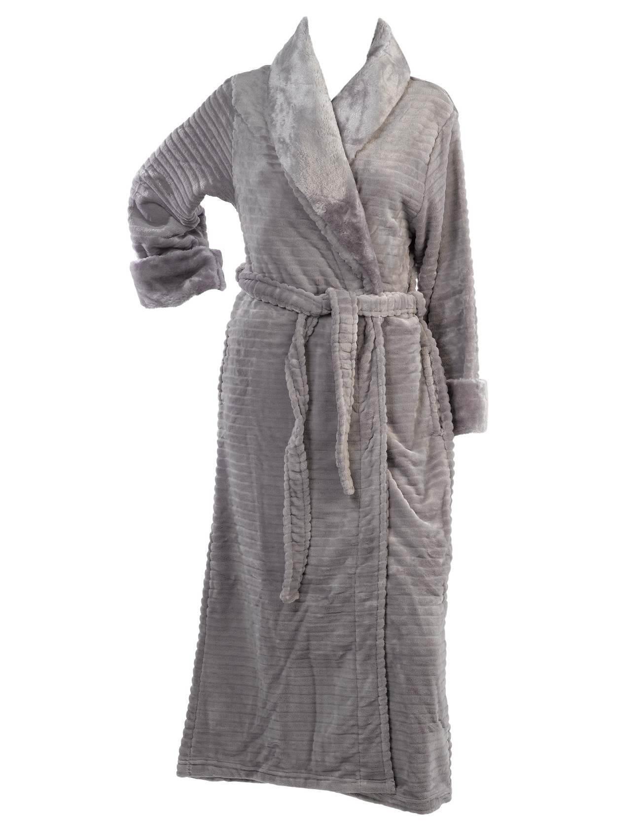 Dressing Gown Ribbed Fleece Ladies Bathrobe Faux Fur Shawl Collar ...