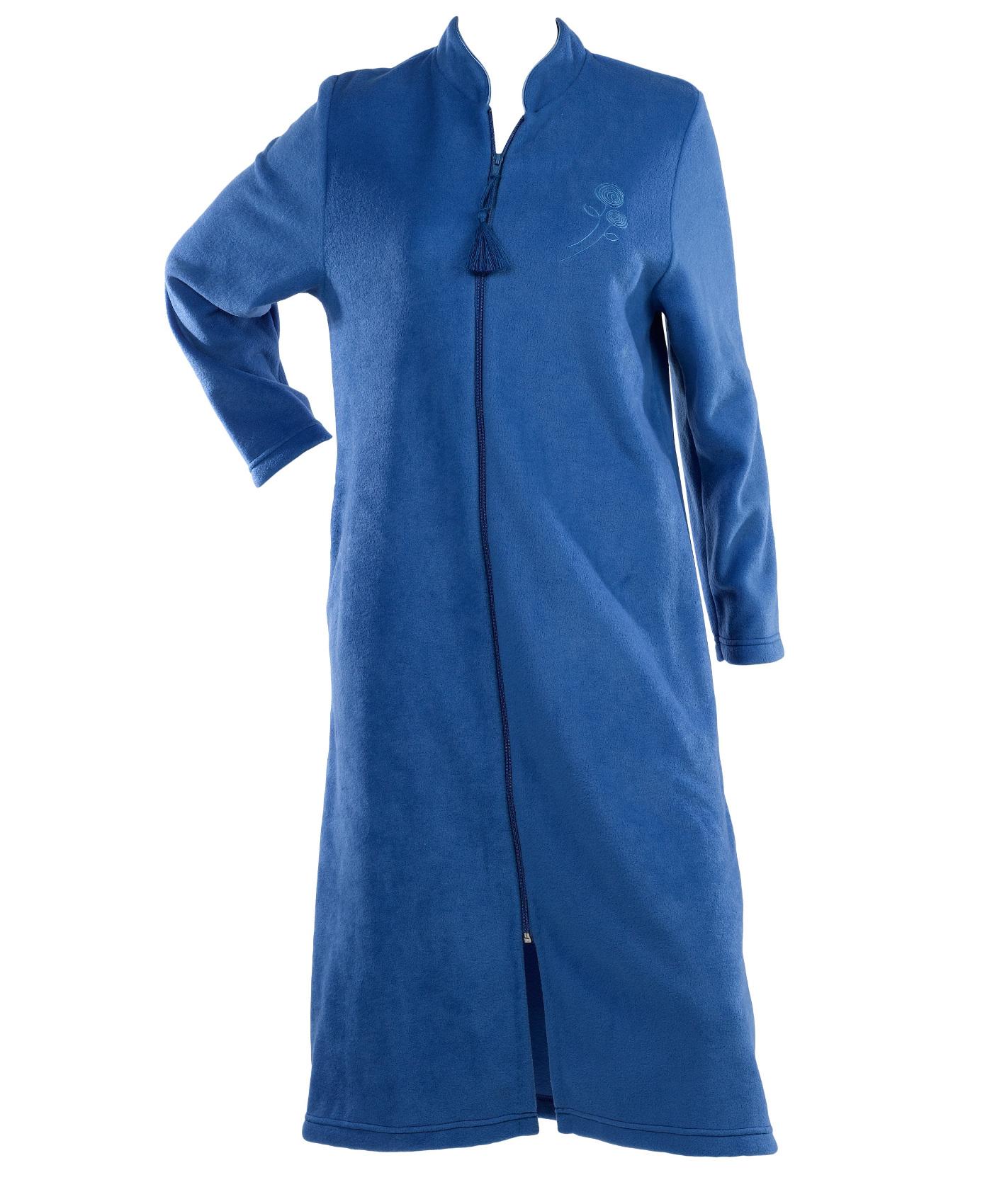 Dressing Gown Womens Soft Polar Fleece Floral Detail Zip ...
