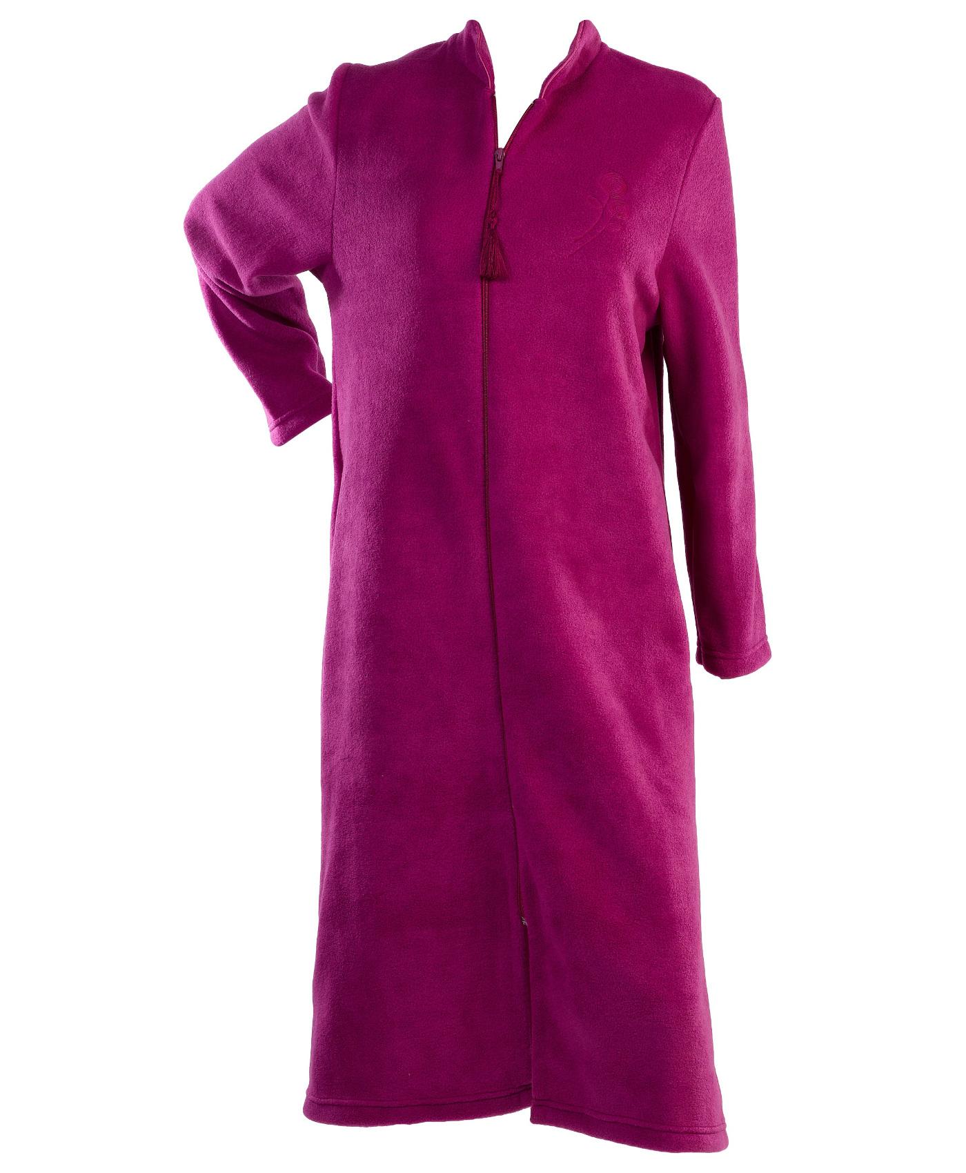 Ladies Polar Fleece Tassel Zip Dressing Gown Embroidered Flower ...