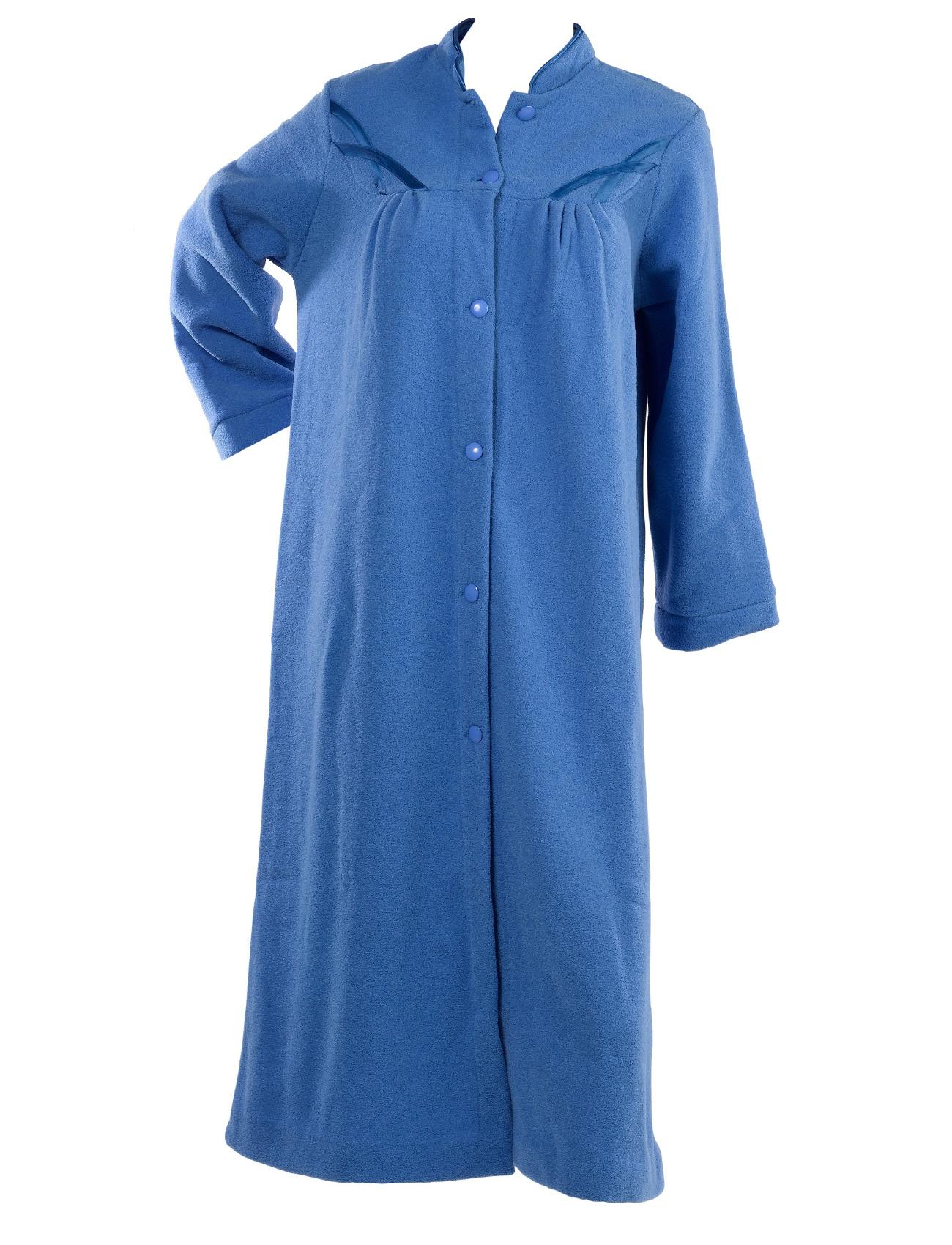 dressing gown womens soft polar fleece button up traditional nightwear bathrobe ebay. Black Bedroom Furniture Sets. Home Design Ideas