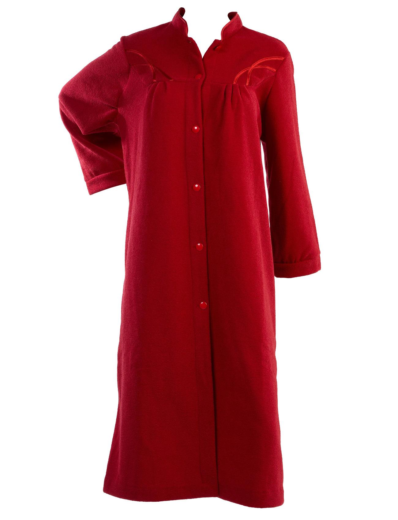 Dressing Gown Womens Soft Polar Fleece Button Up ...