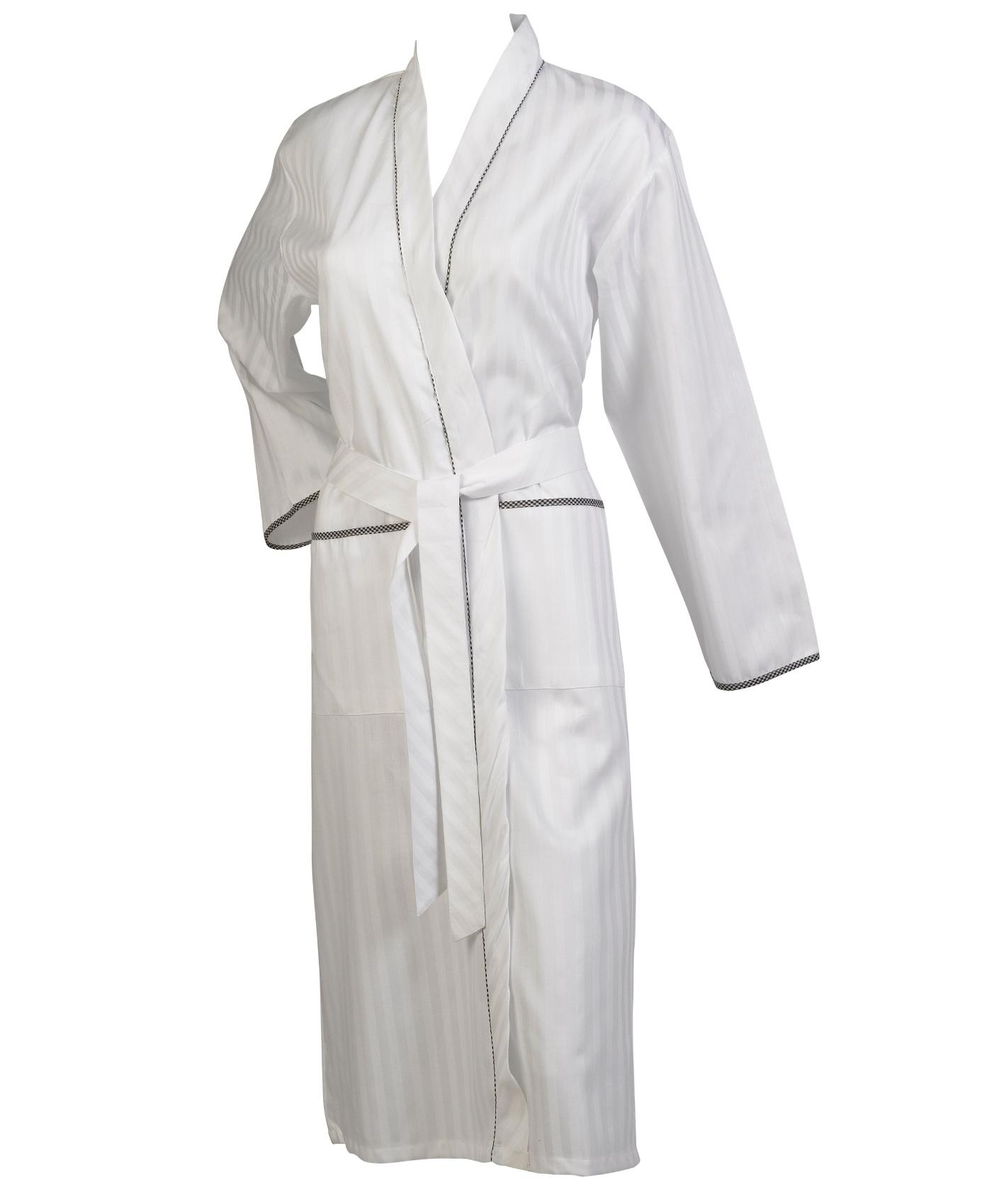 Dressing Gown Satin Stripe Long Sleeve Wrap Ladies 100% Cotton ...