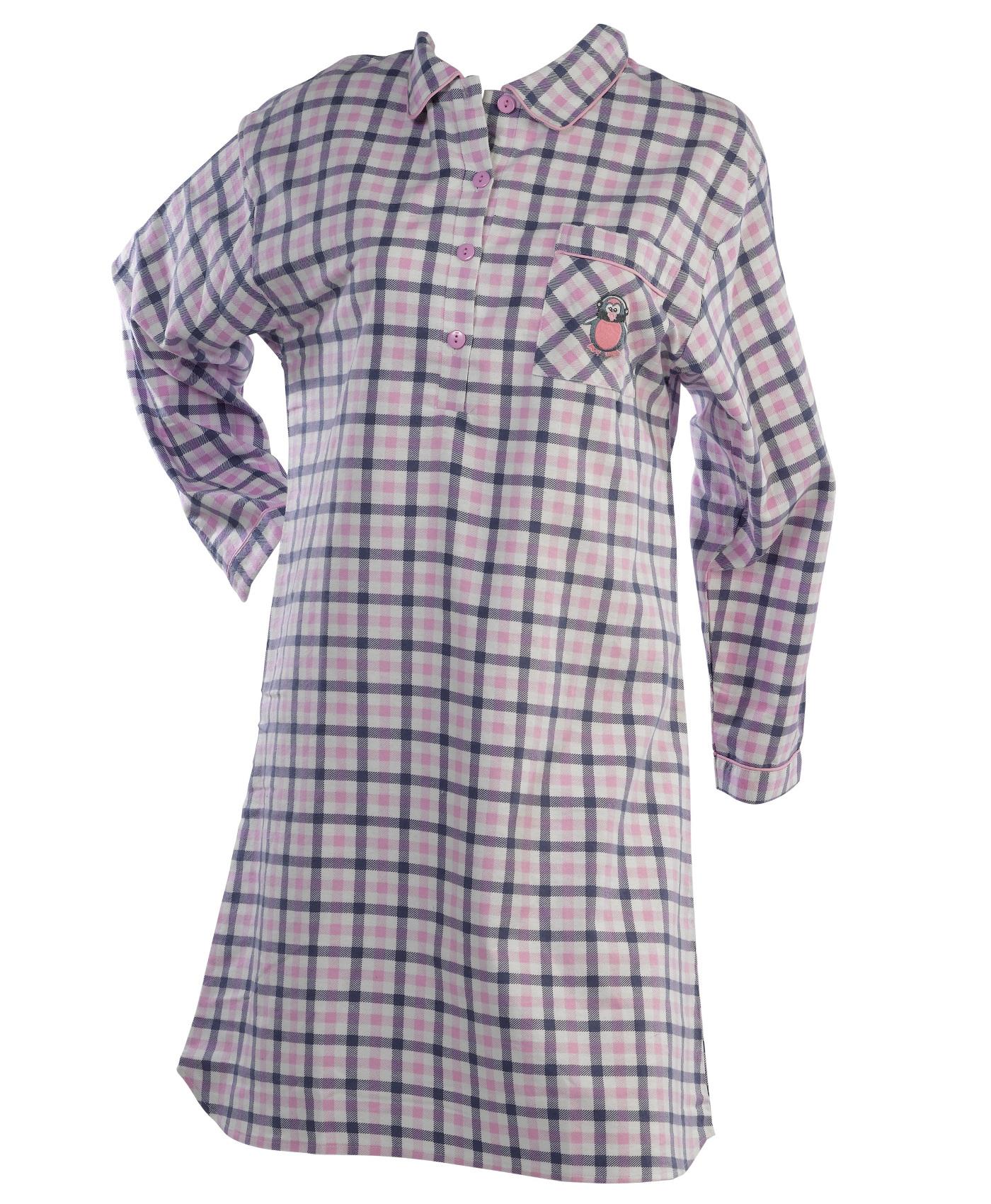 Penguin Motif Nightwear Range 100/% Cotton Checked Nightshirt or Pyjamas PJs Set