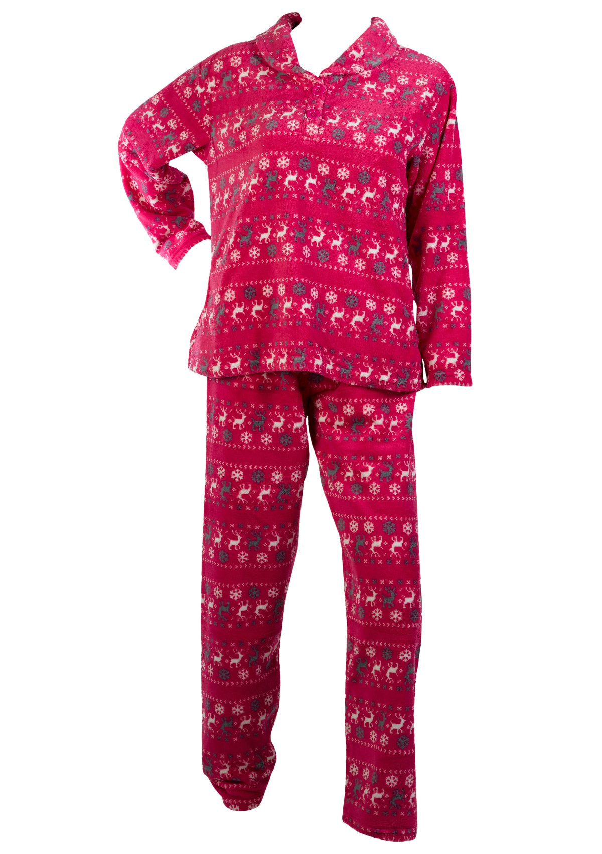 Pyjamas Womens Fairisle Reindeer Pattern PJs Soft Fleece Long Sleeve Top Bottoms