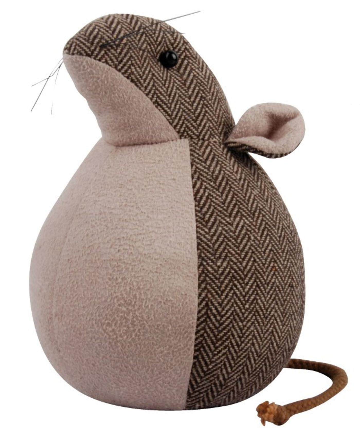 Animal Doorstop Herringbone Tweed Pattern Faux Suede Mouse