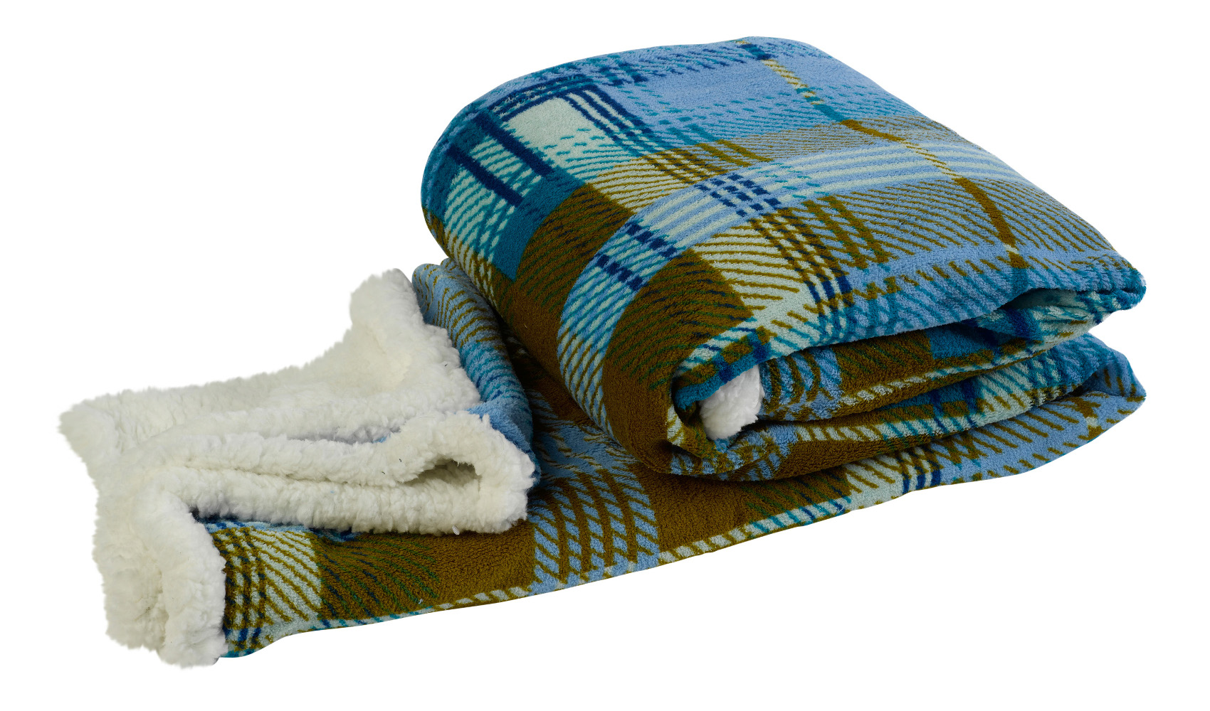 Super Soft Sherpa Fleece Checked Throw Over Reversible Bed