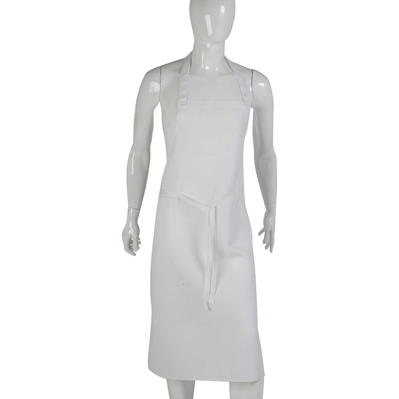 White bib apron - White 100 Cotton Knee Length Bib Apron Professional