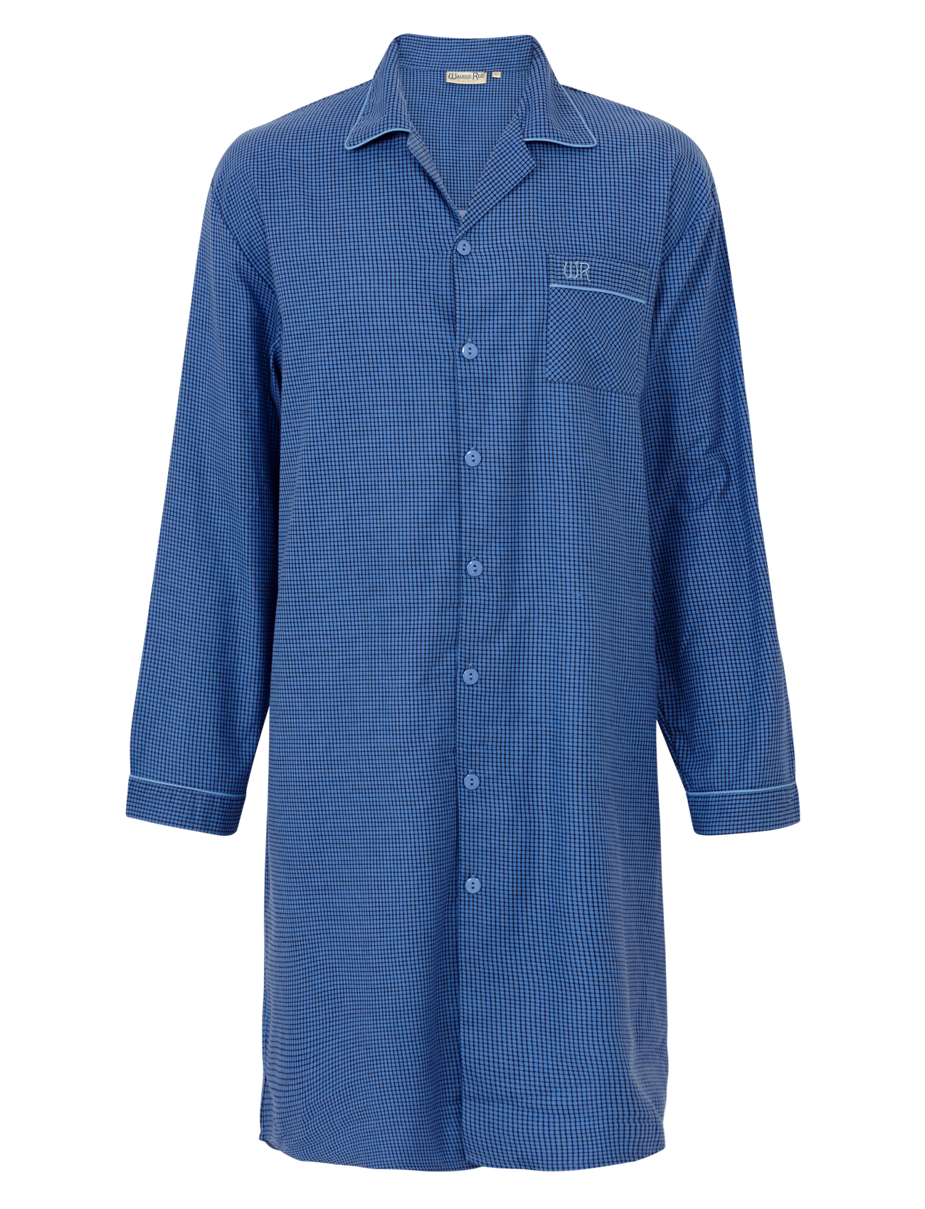 Checked mens night shirt 100 cotton walker reid button up for Long sleep shirts cotton