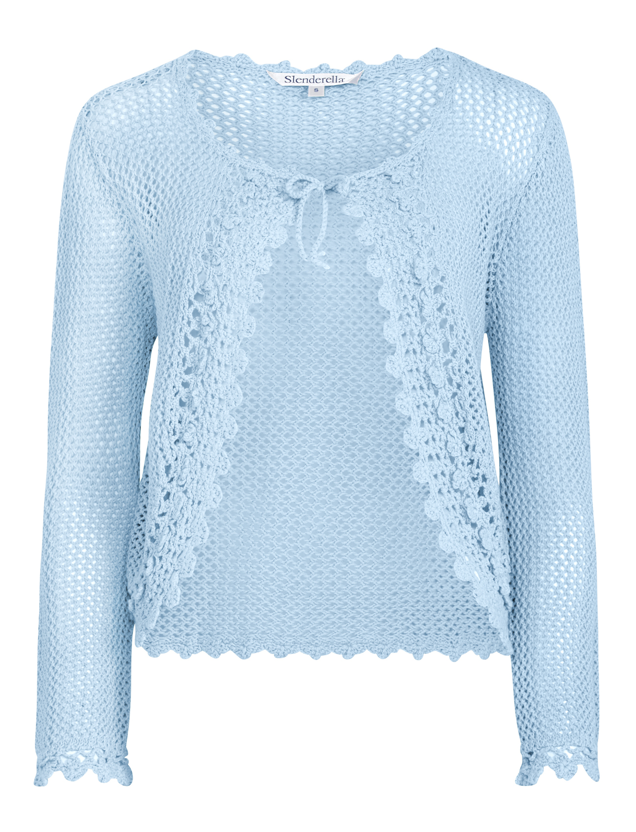 Slenderella Womens Knitted Cotton Bed Jacket Crochet Edge ...