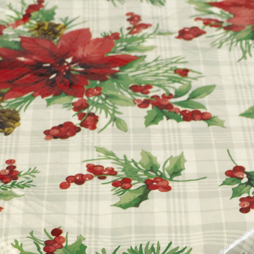 Christmas pvc tablecloth flannel back festive xmas dining kitchen