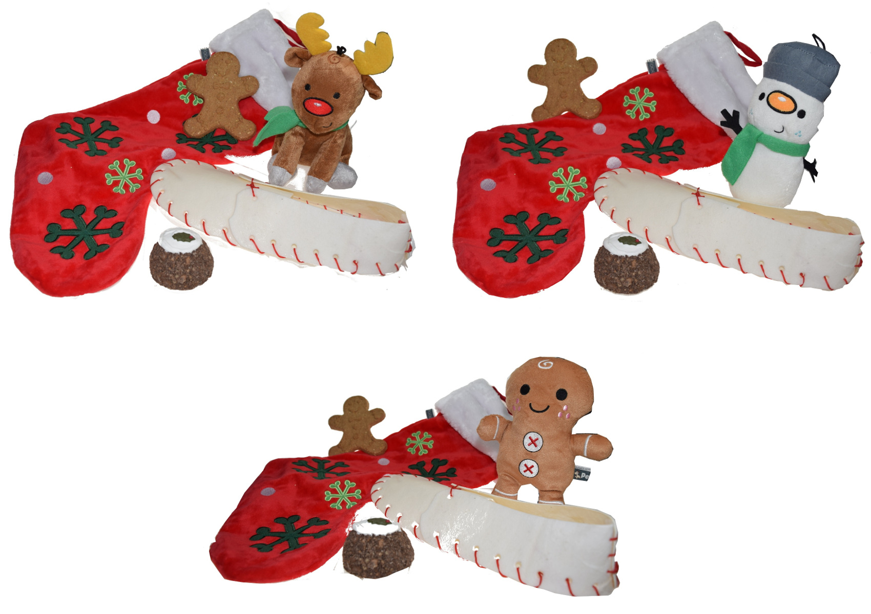 puppy dog christmas stocking squeaky toy rawhide shoe edible