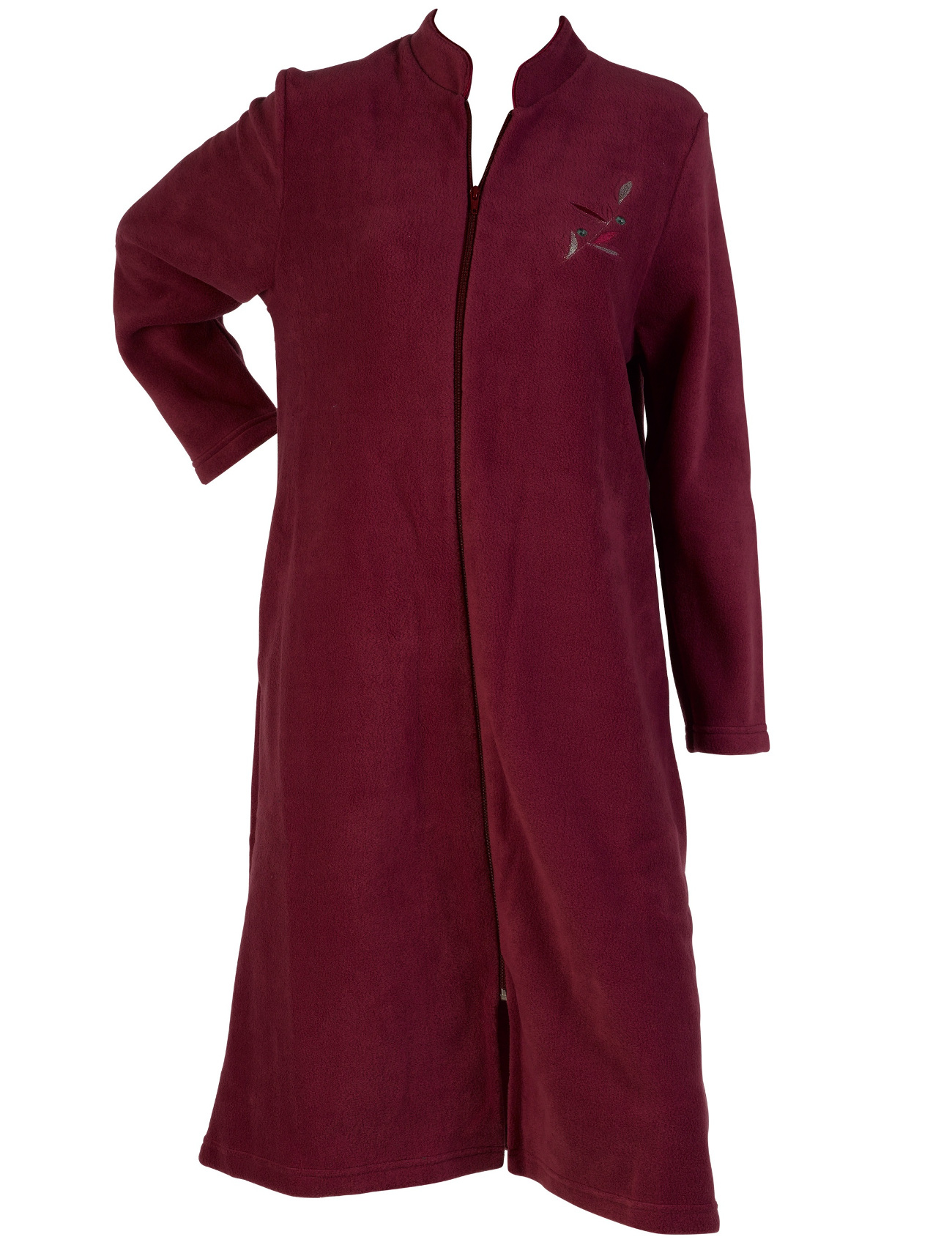 Dressing Gown Womens Floral Detail Zip Up House Coat Soft ...