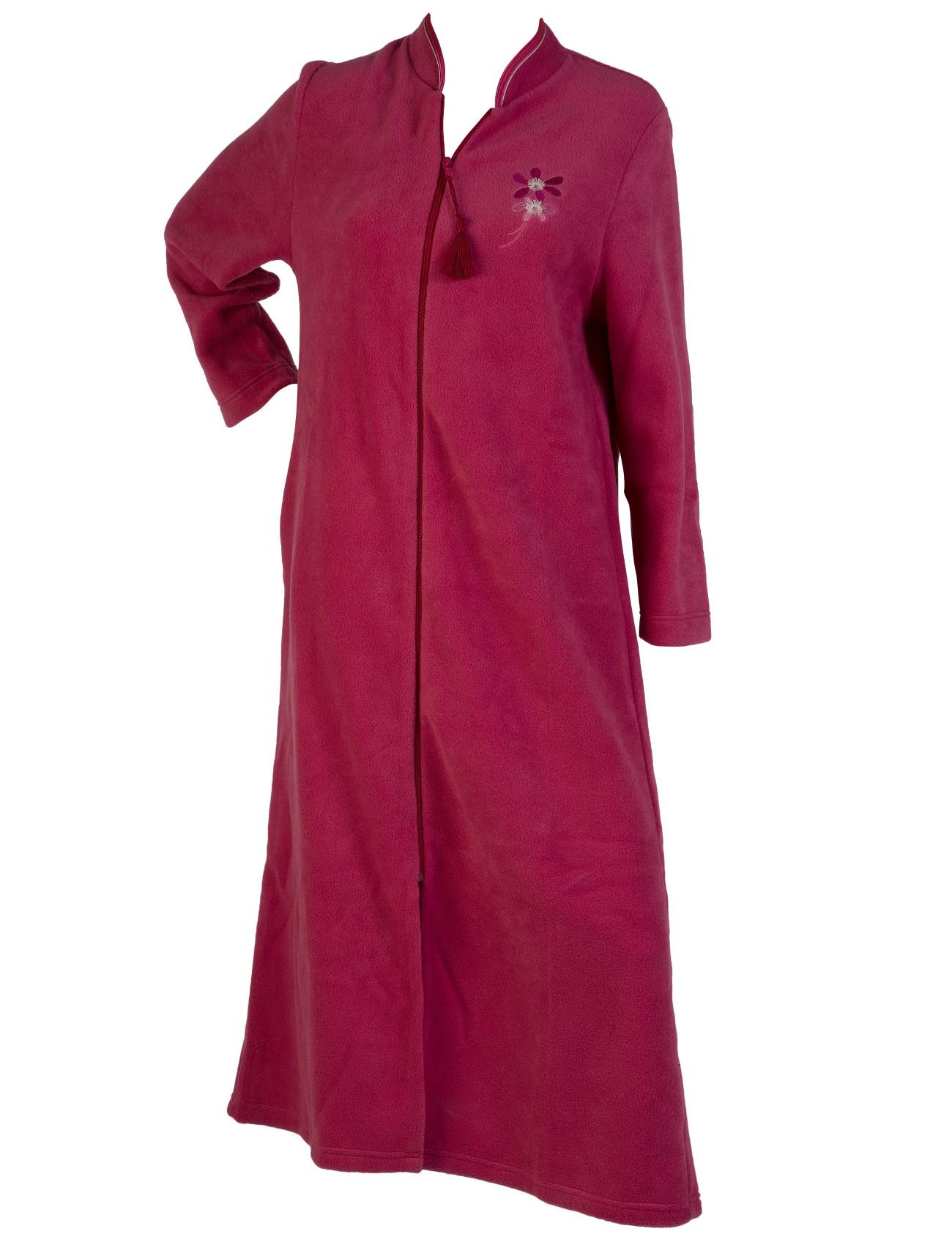 Dressing Gown Womens Soft Polar Fleece Floral Detail ...