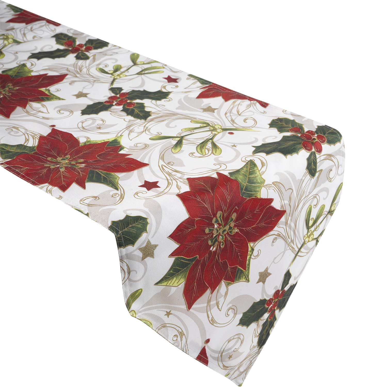 This festive and Vibrant table runner has lovely red flowers unfurling on to the scene and the festive color combination will make this a great addition to your holiday home. The tablecloths are as small as that can be used as place mat / placemat or to cover a nightstand, to cover your coffee table or to cover your dining table.