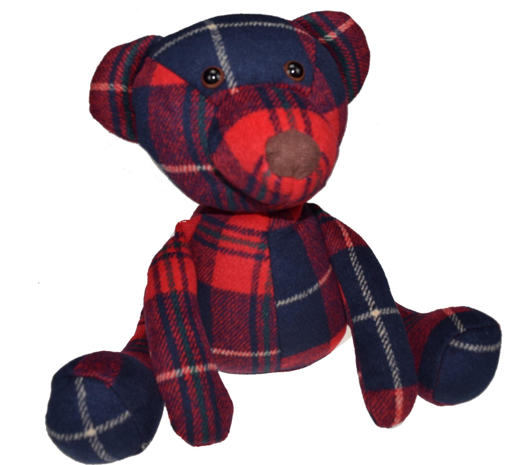 Teddy bear animal door stopper red tartan check novelty heavy fabric doorstop - Novelty doorstop ...