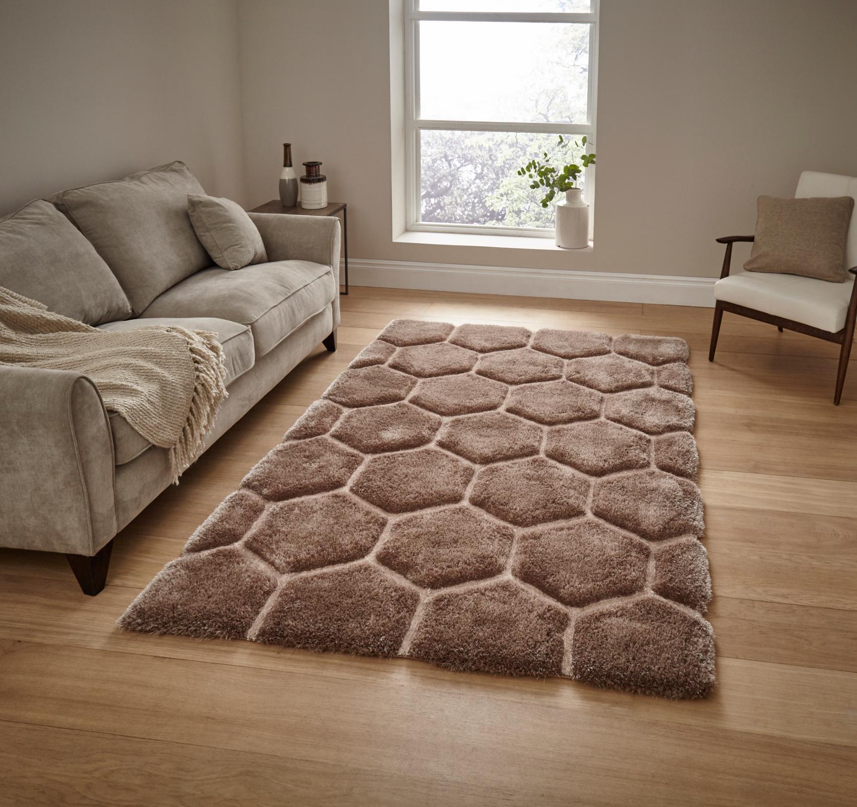 noble house hand carved 3d honeycomb shaggy rug super soft hexagon - Shaggy Rug