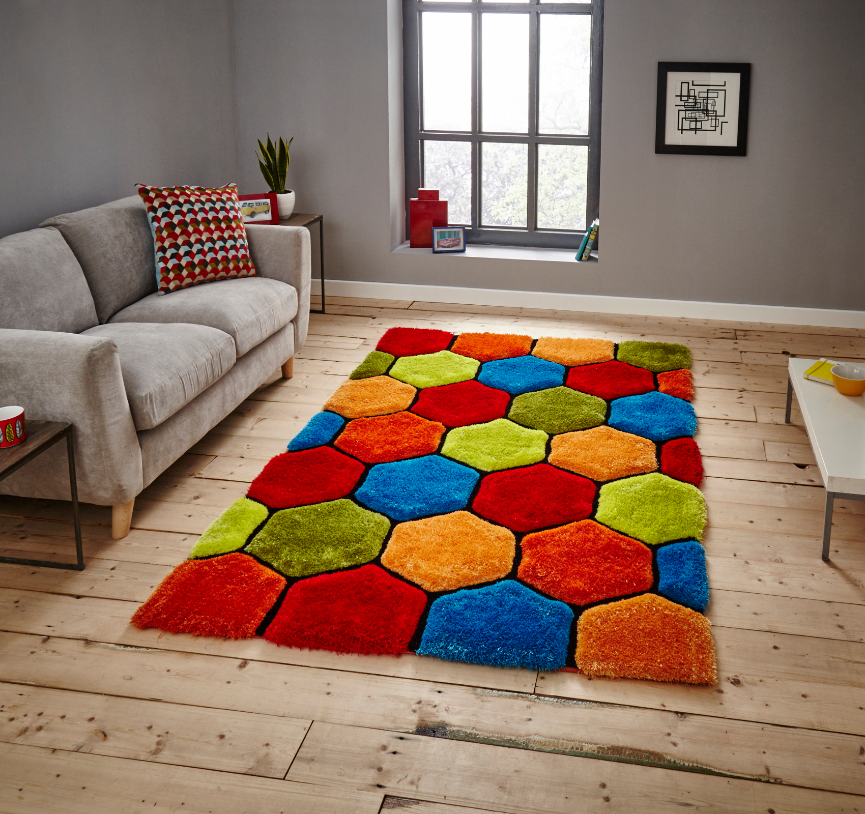 Noble House Hand Carved 3D Honeycomb Shaggy Rug