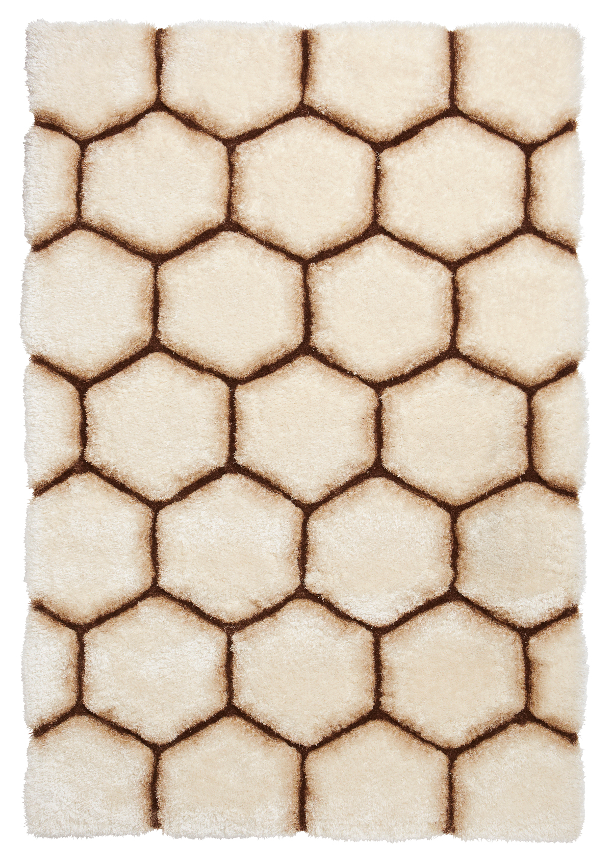 Cream Amp Brown Hexagon Rug Super Soft Shaggy Pile Noble