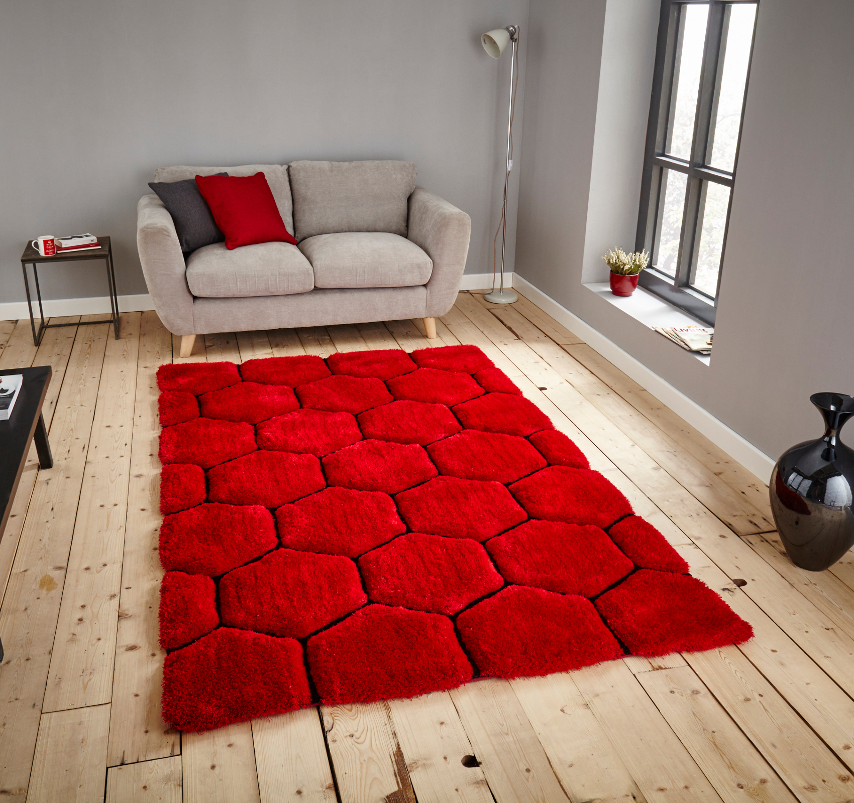 Le House Hand Carved Honeycomb Gy Rug Super Soft Hexagon
