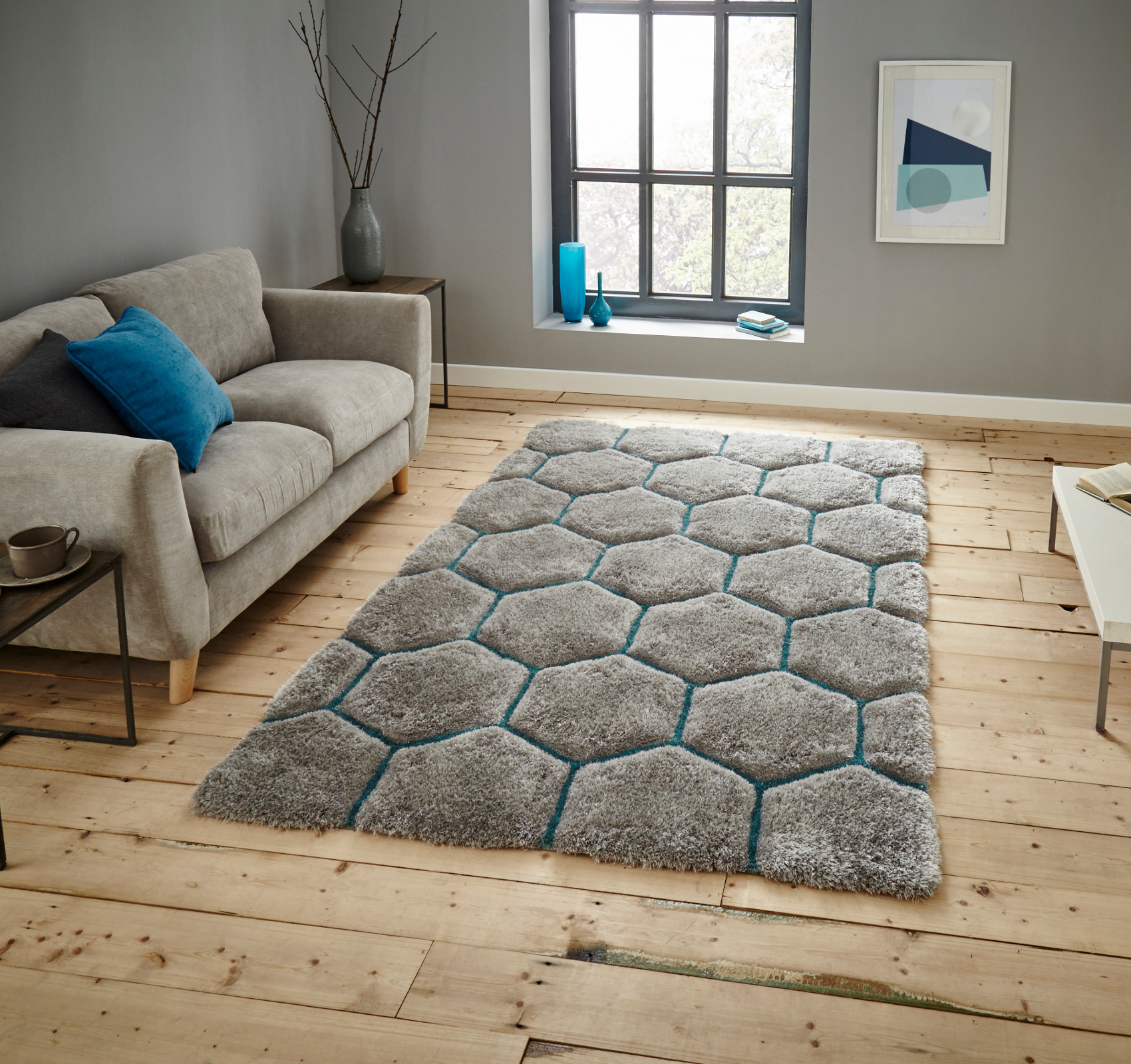 Noble House Hand Carved 3d Honeycomb Shaggy Rug Super Soft