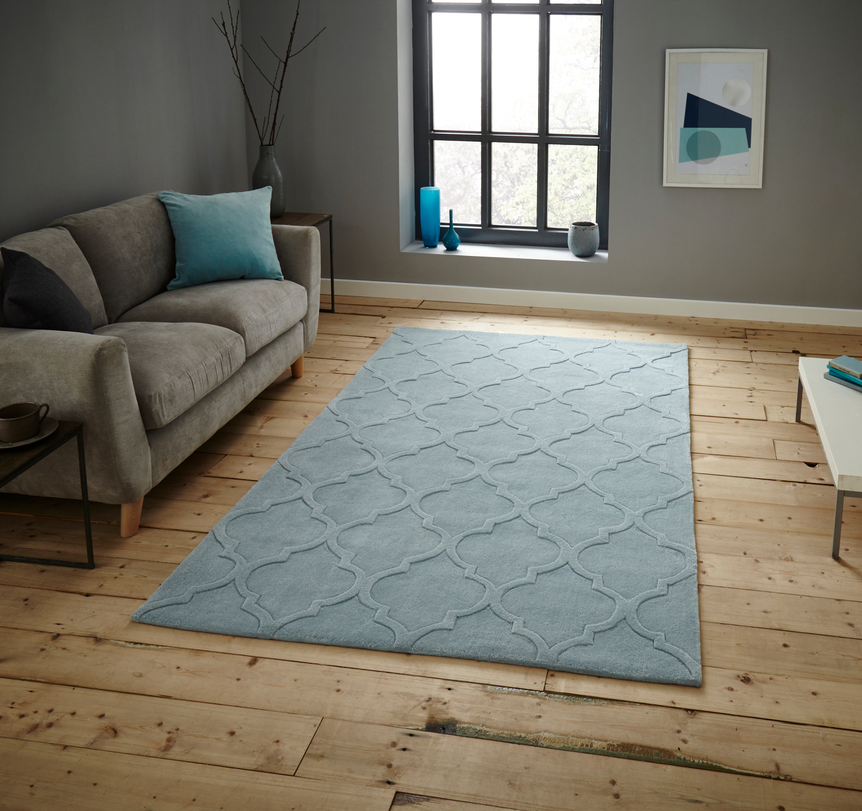 Hong Kong Hand Tufted Trellis Design Rug Arabesque