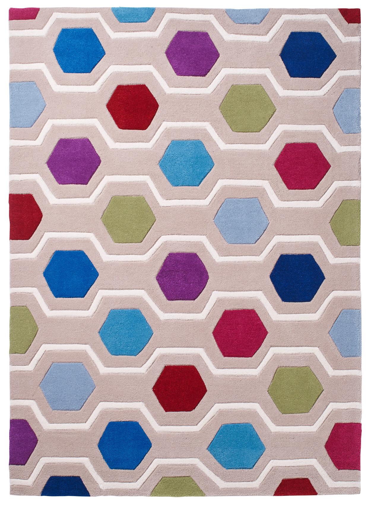 Modern Hexagon Pattern Rug 100 Acrylic Hand Tufted