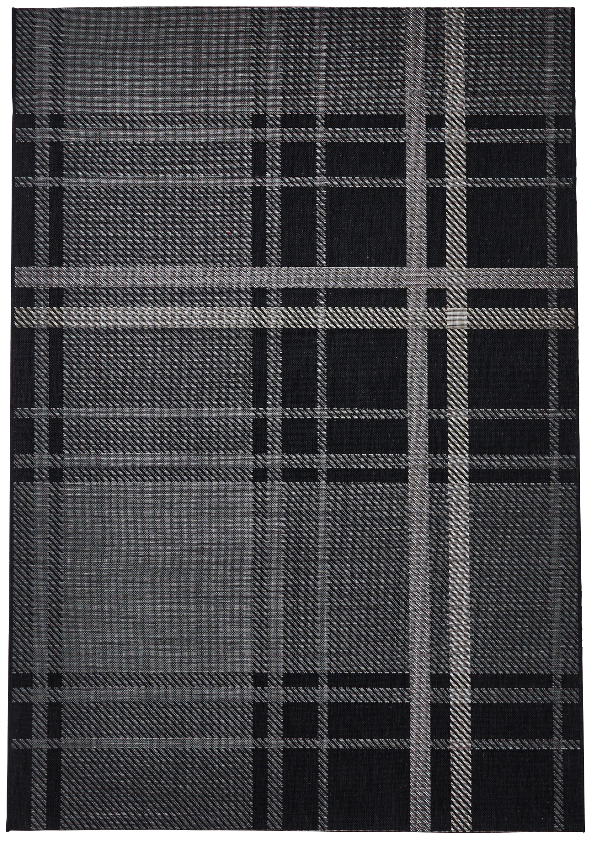 Black Amp Grey Tartan Checked Rug Flat Weave