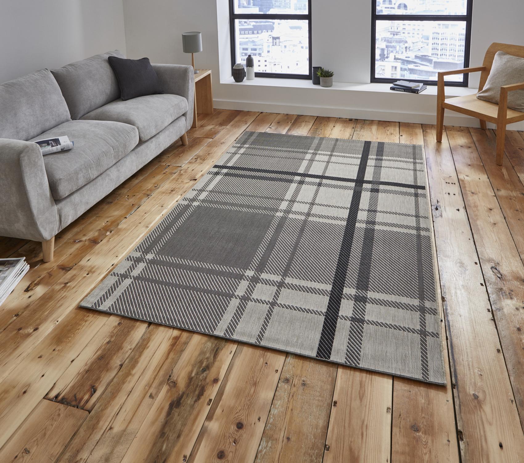 Breeze tartan check rug flat weave polypropylene durable for Indoor outdoor rugs uk