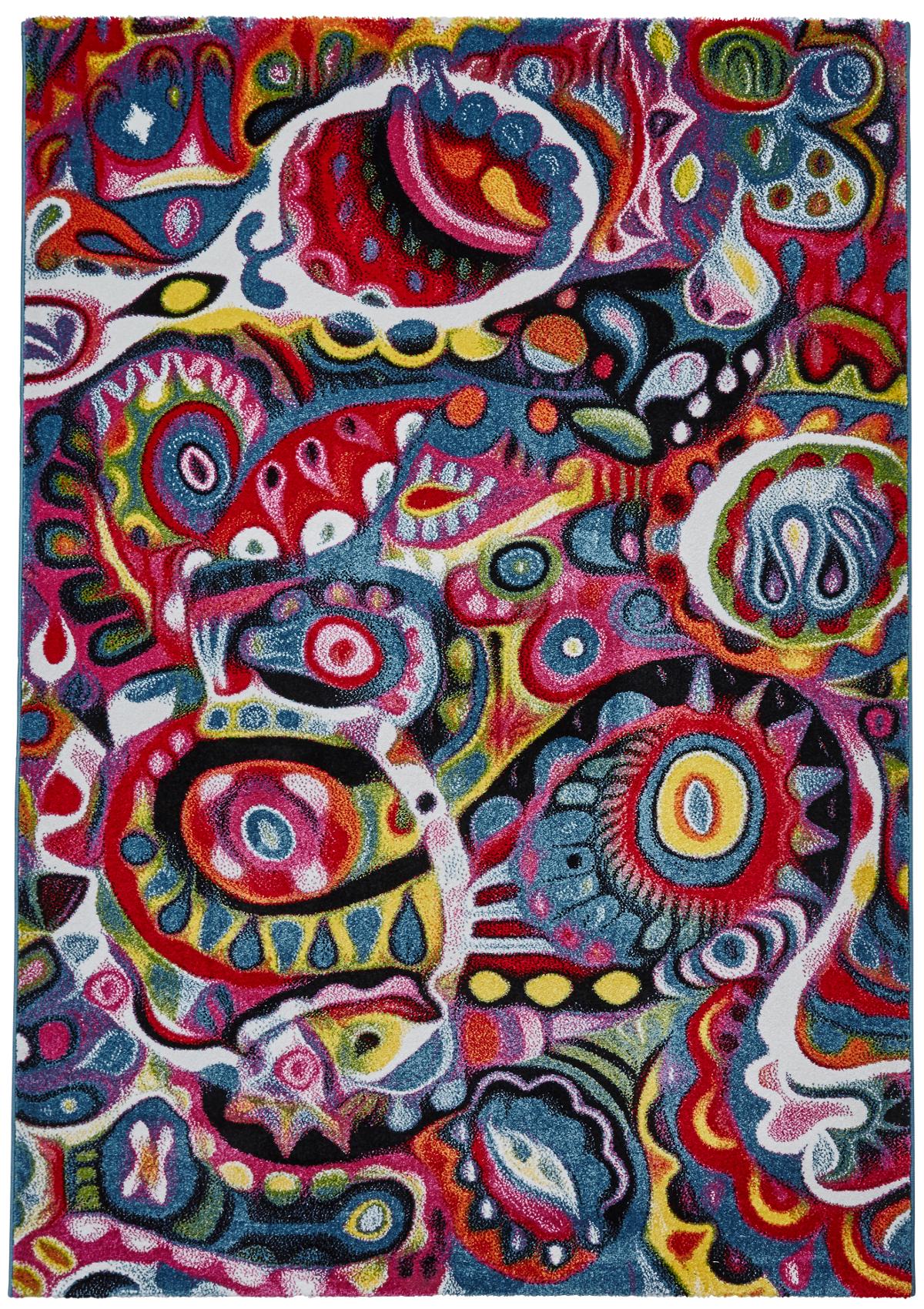 Fair Trade Rugs Vibrant Modern Sunrise Rug Bright Multi Coloured Floor Mat