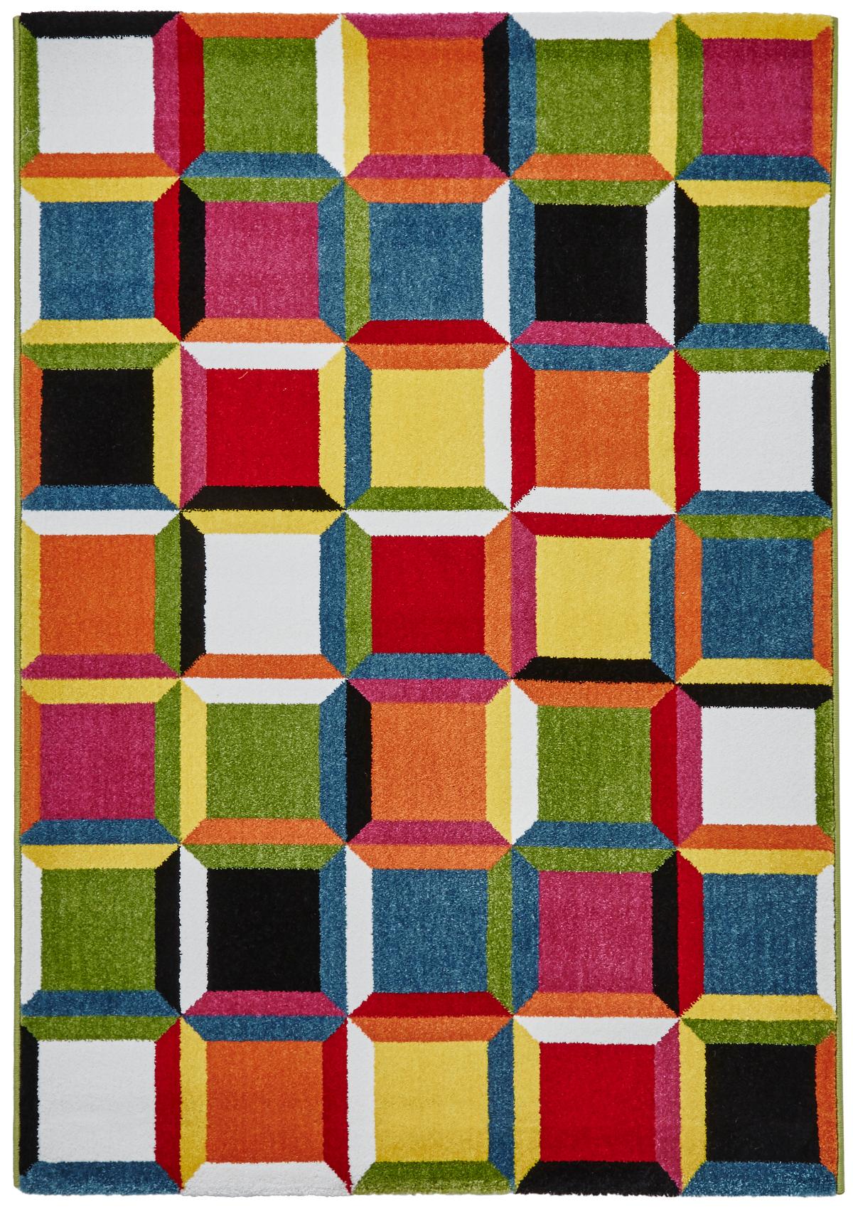 Vibrant Modern Sunrise Rug Bright Multi Coloured Floor Mat Home
