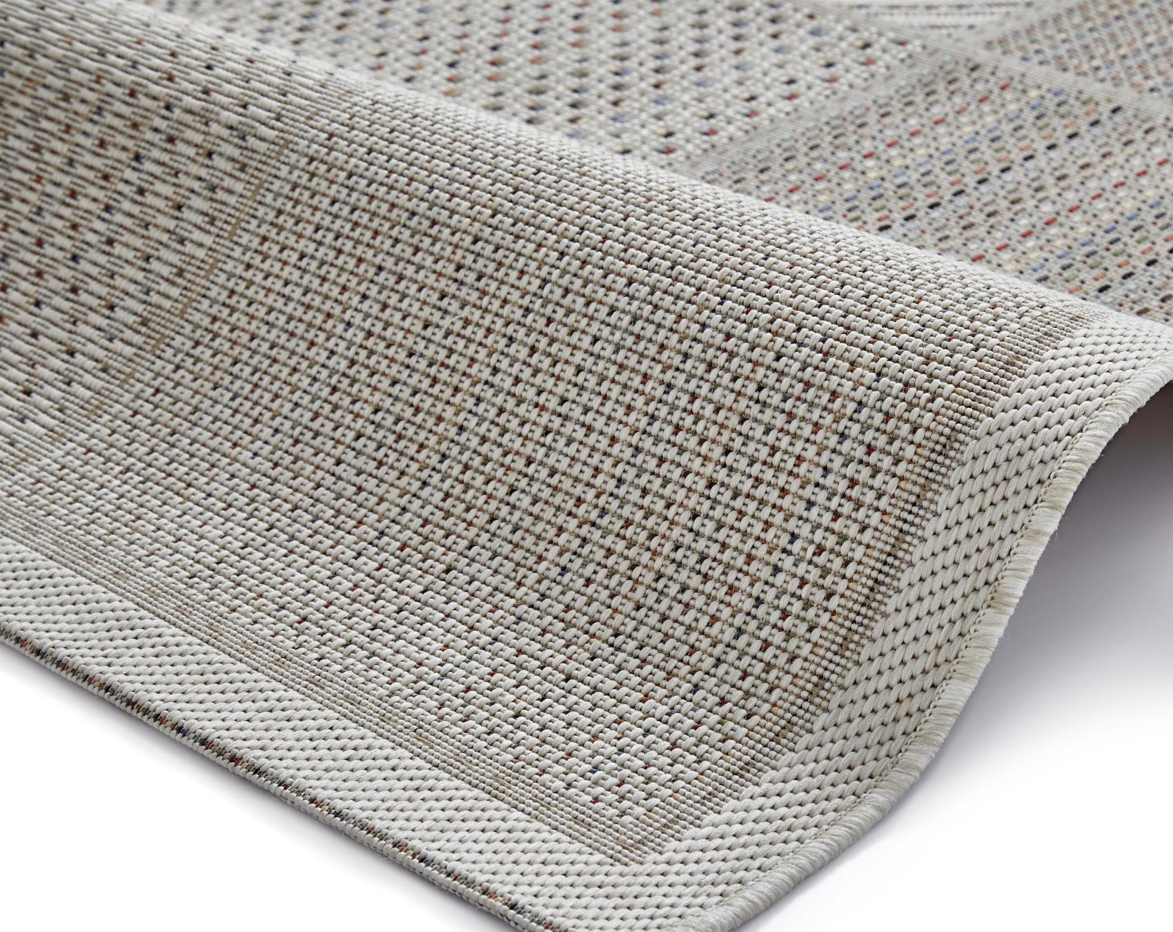 square grid pattern rug flat weave polypropylene neutral vegas mat  - item description