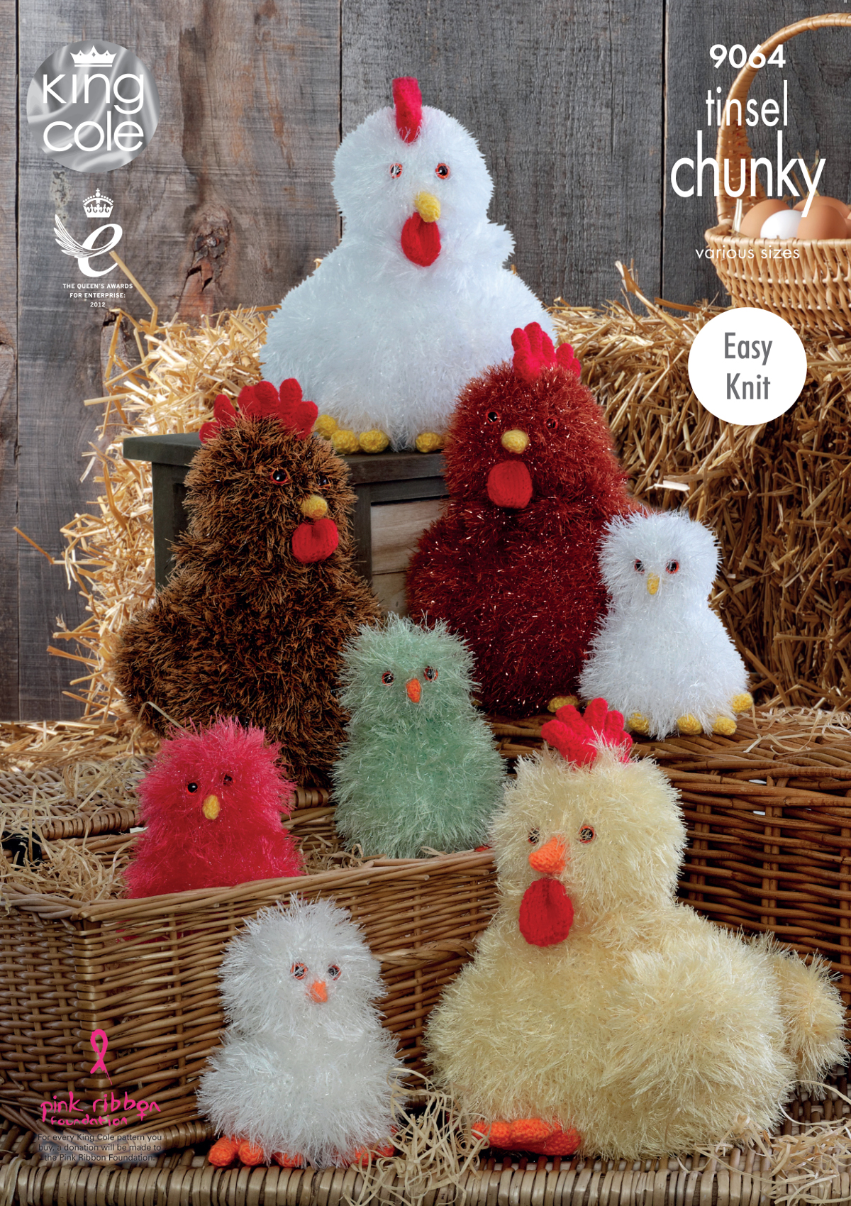 Easy Knit Tinsel Chunky Knitting Pattern Chickens Hens Chicks Toy King Cole 9...