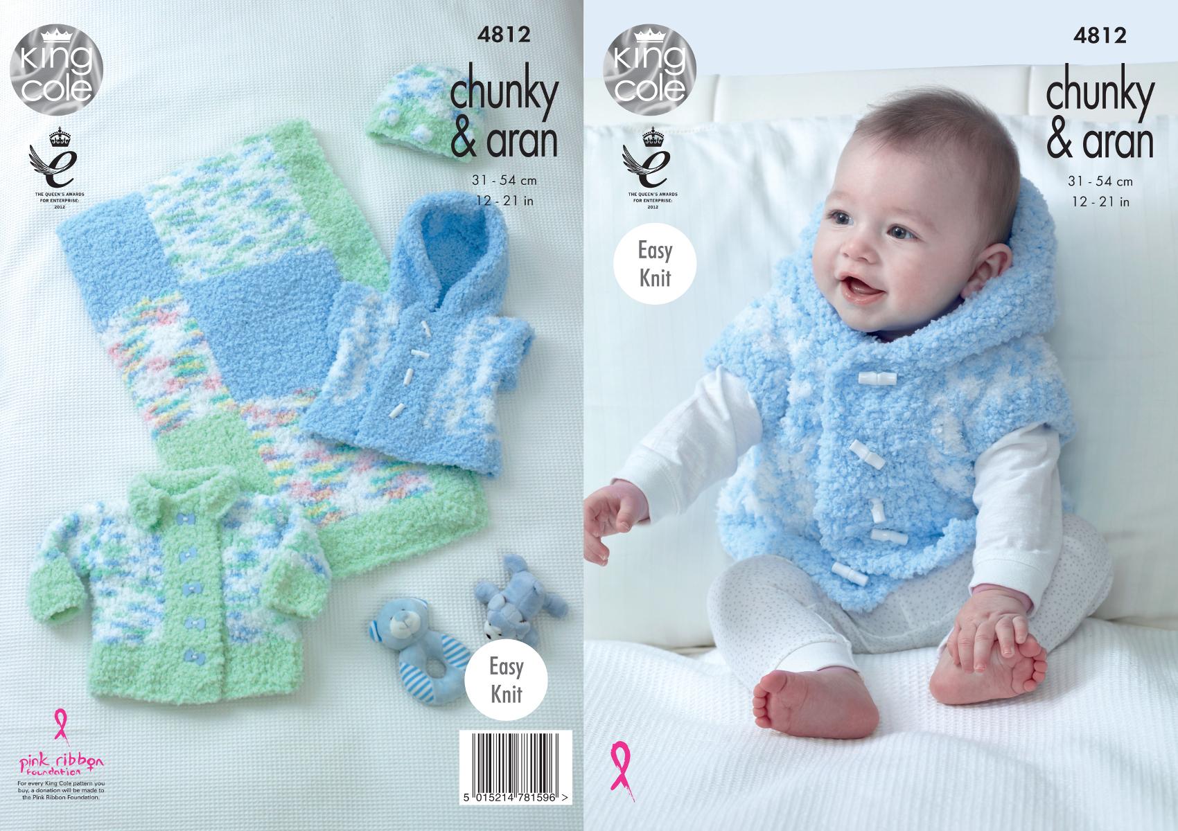 Knitting Pattern Gilet Aran : Easy Knit Baby Knitting Pattern Jacket Gilet Hat & Blanket King Cole Chun...