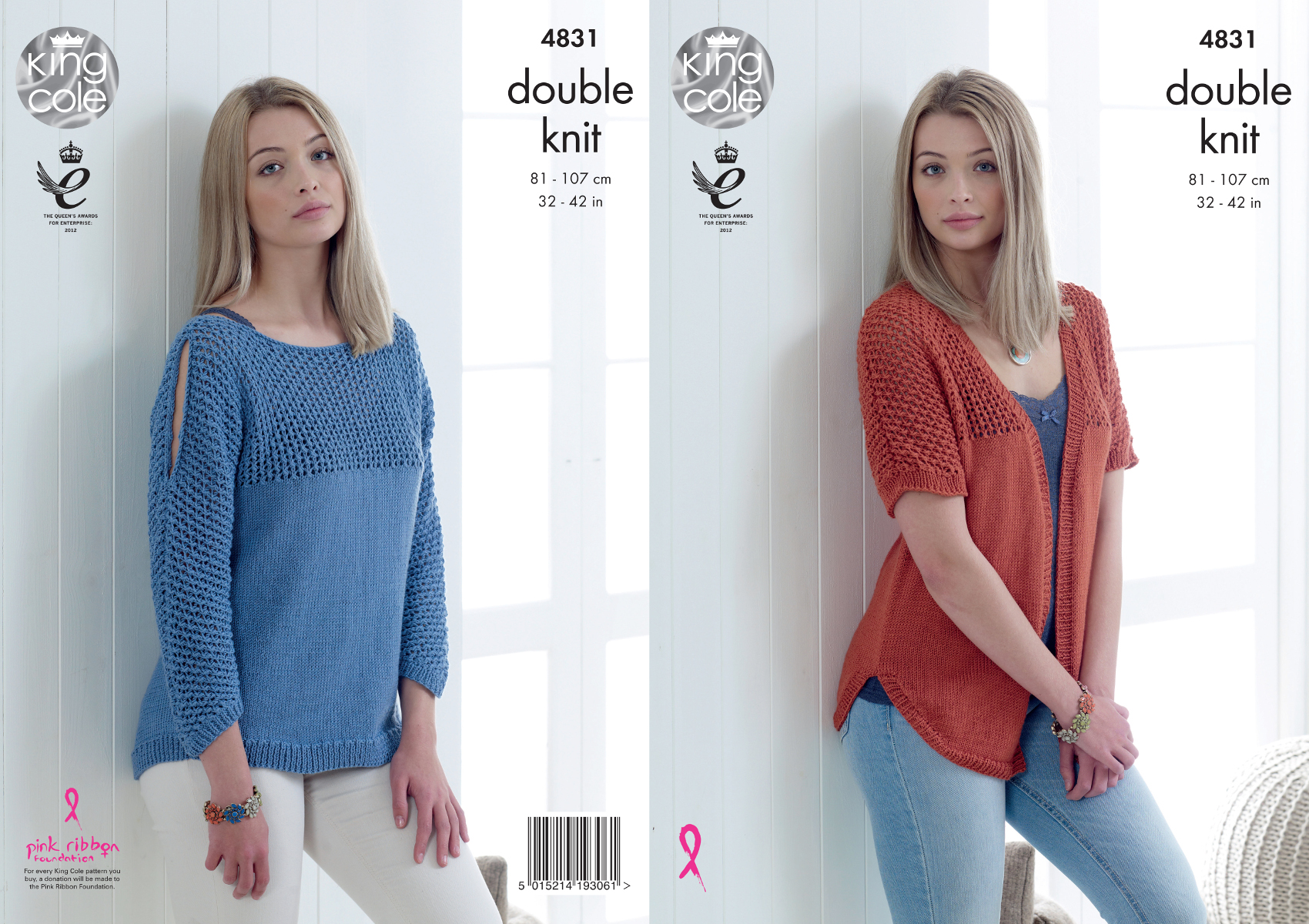 Knitting Patterns Ladies Jumpers Double Knit : King Cole Ladies Double Knitting Pattern Womens Lace Detail Cardigan Jumper 4...
