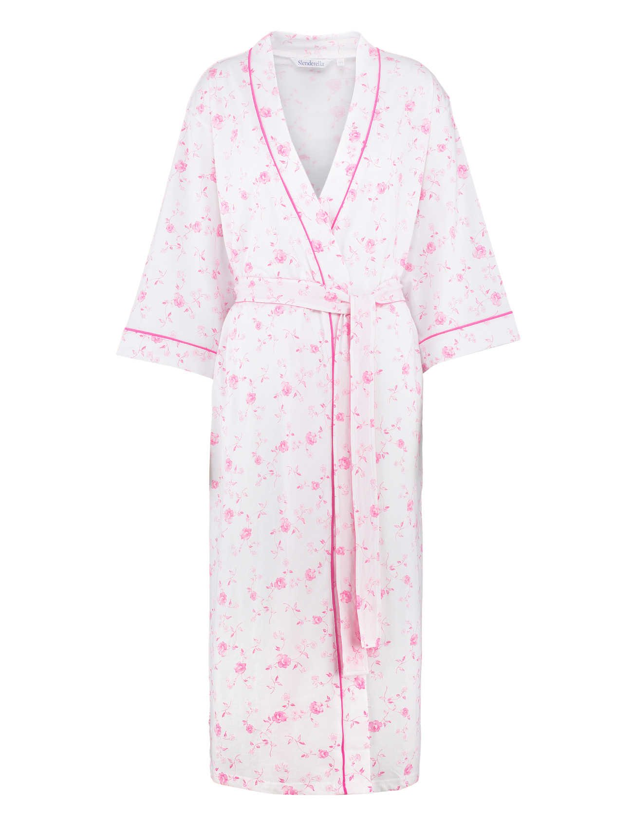 Ladies Lightweight Floral Dressing Gown 3/4 Sleeve 100% Cotton ...