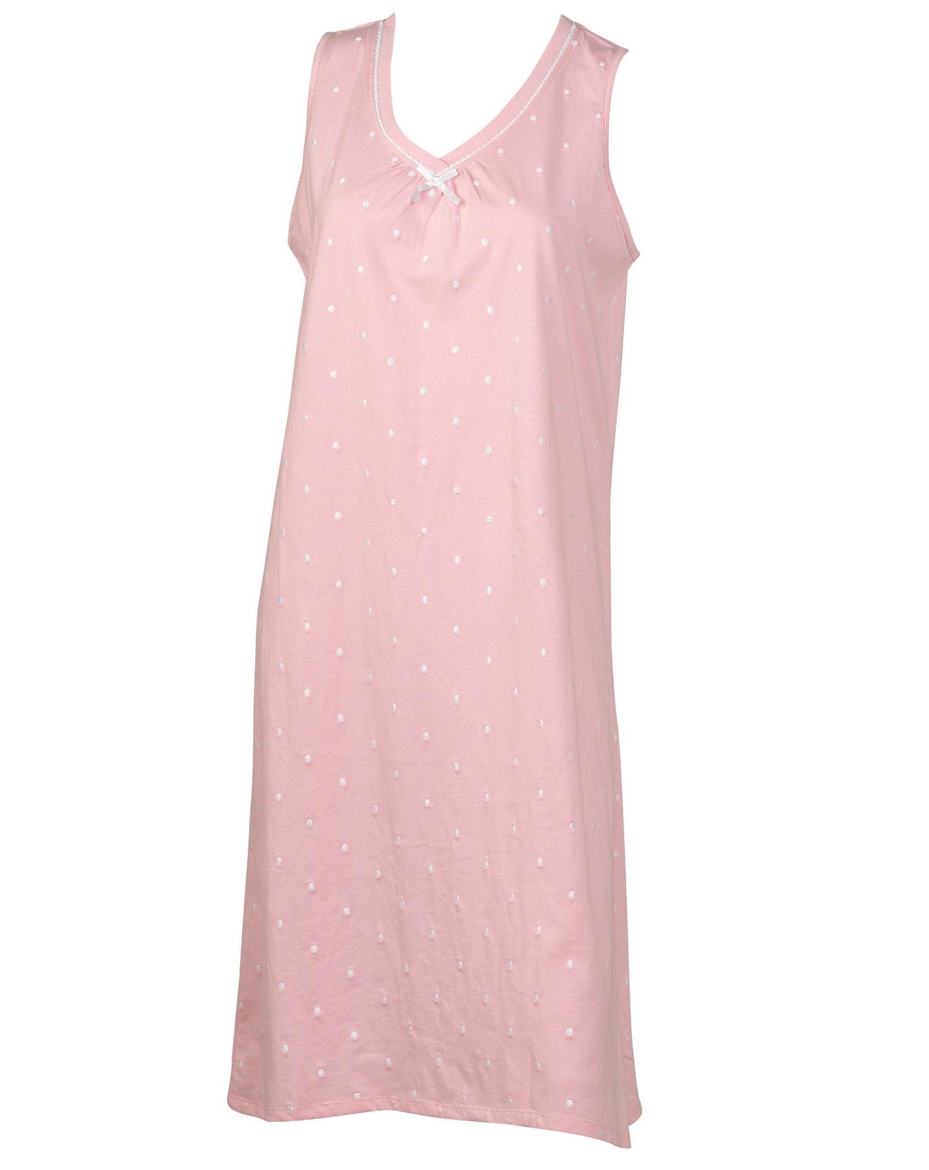 Ladies slenderella sleeveless nightdress embroidered polka