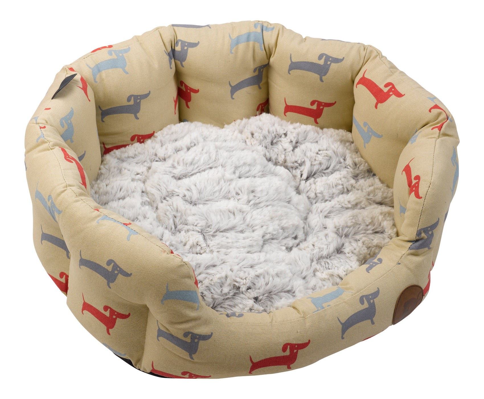 Pet Bed Oval Dog Deli Pattern Basket Faux Fur Cushion Anti Slip Base ...